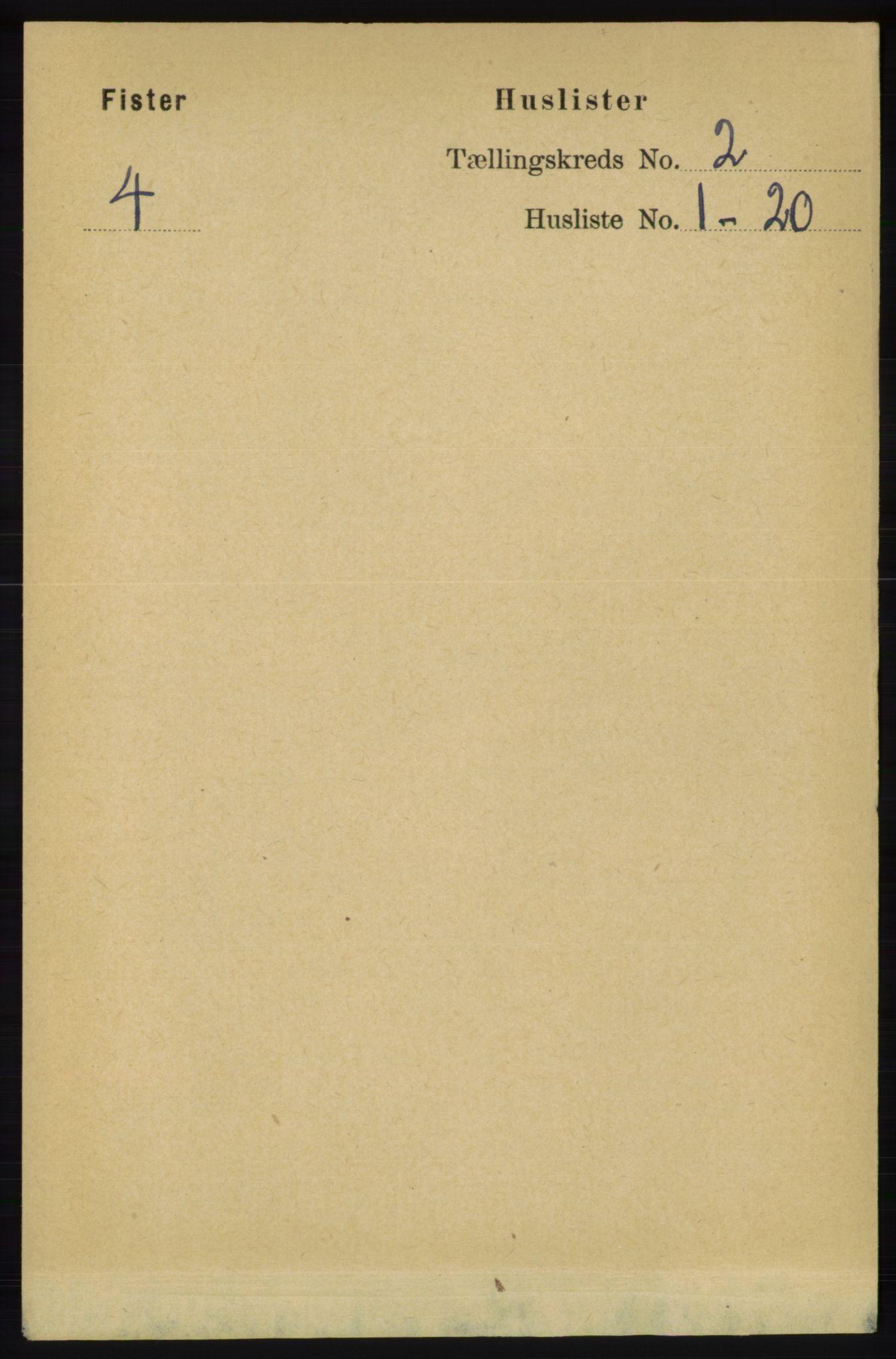 RA, Folketelling 1891 for 1132 Fister herred, 1891, s. 332