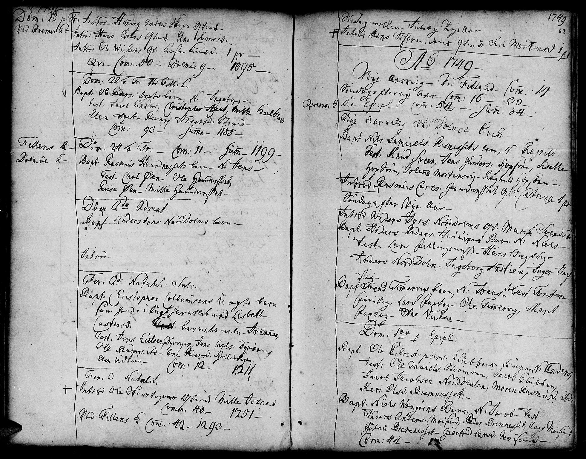 SAT, Ministerialprotokoller, klokkerbøker og fødselsregistre - Sør-Trøndelag, 634/L0525: Ministerialbok nr. 634A01, 1736-1775, s. 63