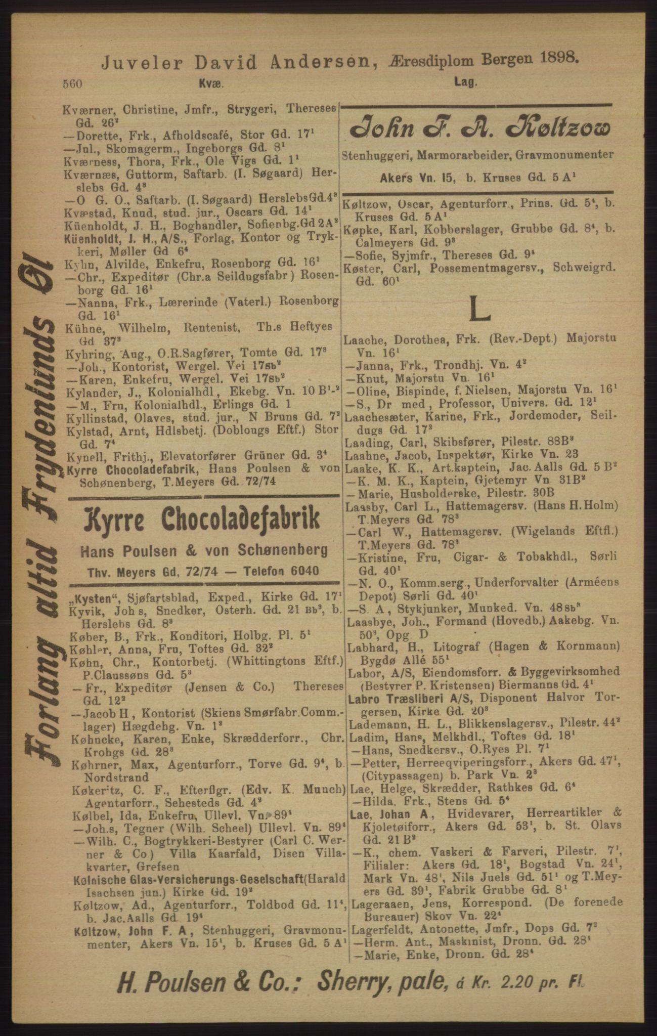 RA, Kristiania adressebok (publikasjon)*, 1906, s. 560