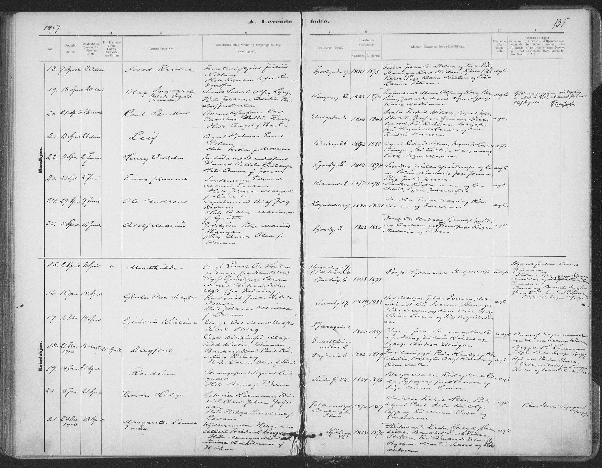 SAT, Ministerialprotokoller, klokkerbøker og fødselsregistre - Sør-Trøndelag, 602/L0122: Ministerialbok nr. 602A20, 1892-1908, s. 135