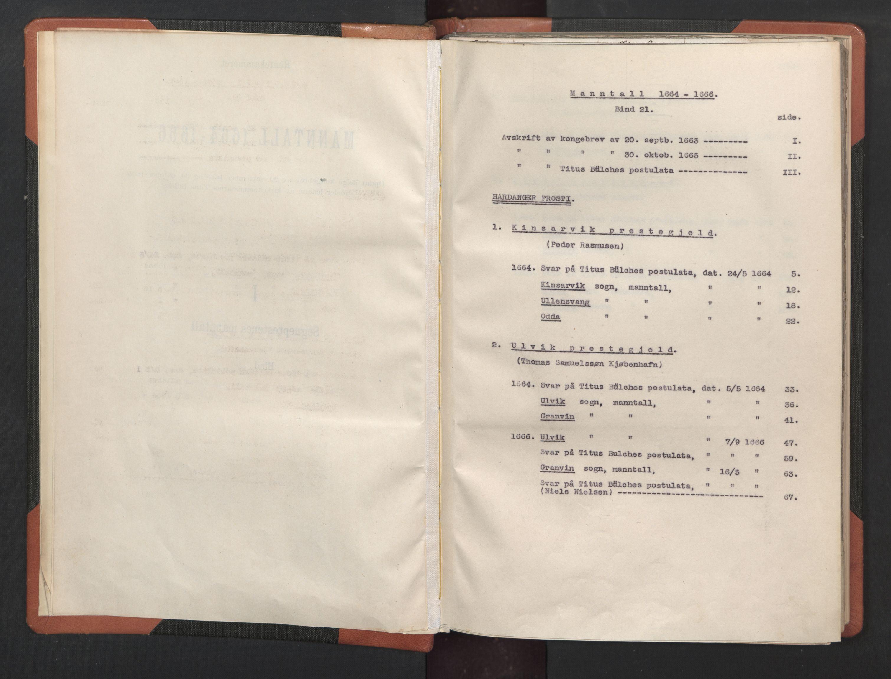 RA, Sogneprestenes manntall 1664-1666, nr. 21: Hardanger prosti, 1664-1666, s. upaginert