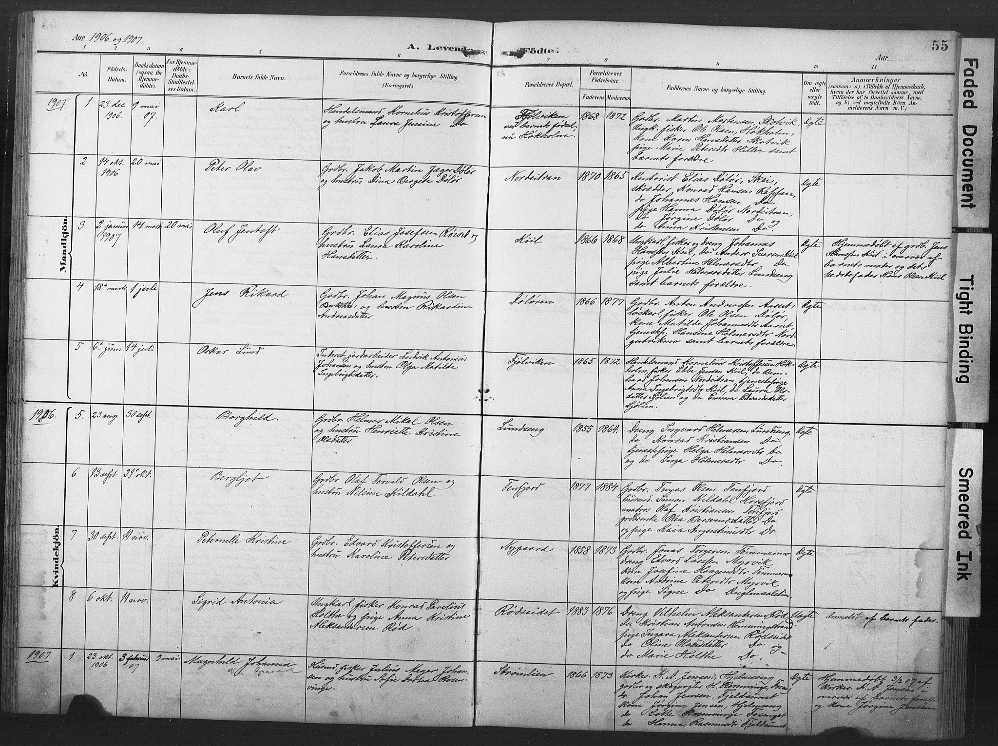 SAT, Ministerialprotokoller, klokkerbøker og fødselsregistre - Nord-Trøndelag, 789/L0706: Klokkerbok nr. 789C01, 1888-1931, s. 55