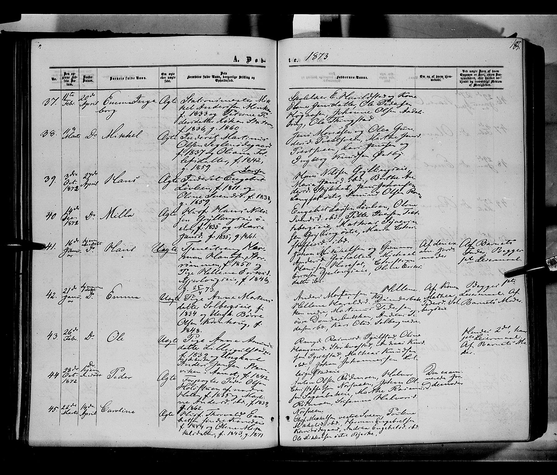 SAH, Løten prestekontor, K/Ka/L0008: Ministerialbok nr. 8, 1860-1877, s. 185