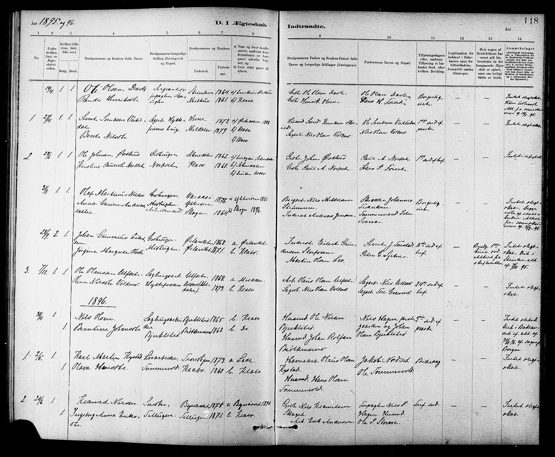 SAT, Ministerialprotokoller, klokkerbøker og fødselsregistre - Sør-Trøndelag, 618/L0452: Klokkerbok nr. 618C03, 1884-1906, s. 118