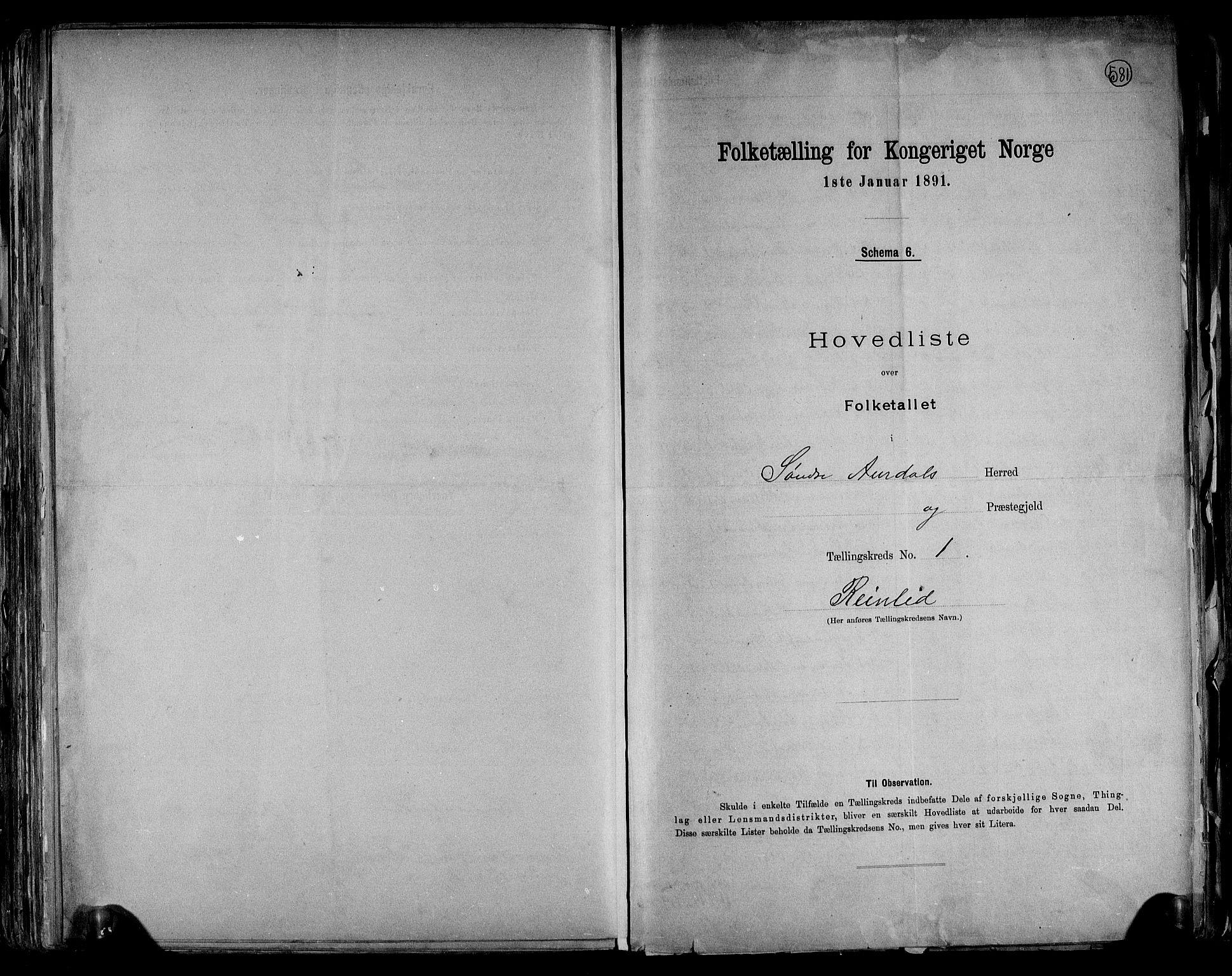 RA, Folketelling 1891 for 0540 Sør-Aurdal herred, 1891, s. 4
