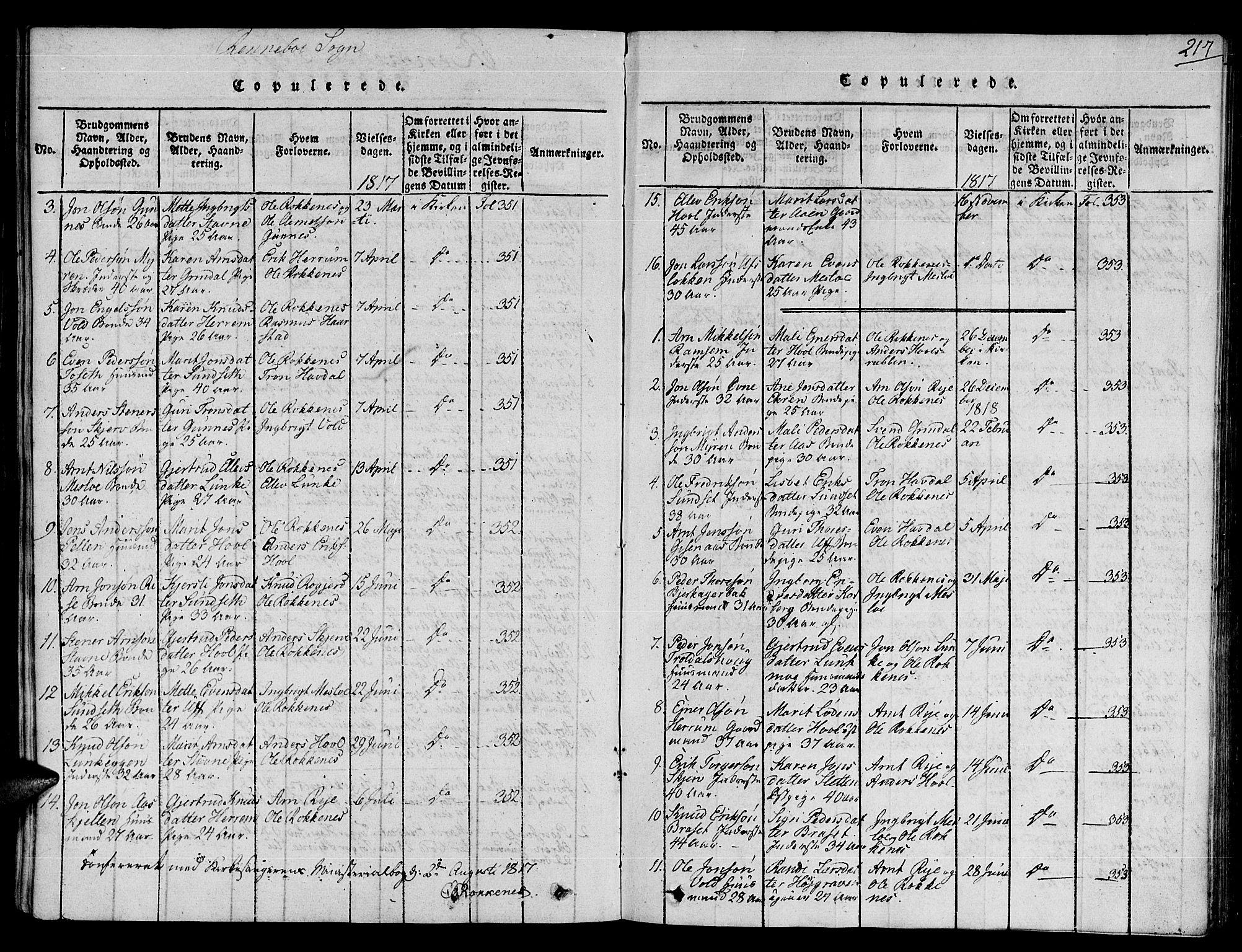 SAT, Ministerialprotokoller, klokkerbøker og fødselsregistre - Sør-Trøndelag, 672/L0854: Ministerialbok nr. 672A06 /2, 1816-1829, s. 217