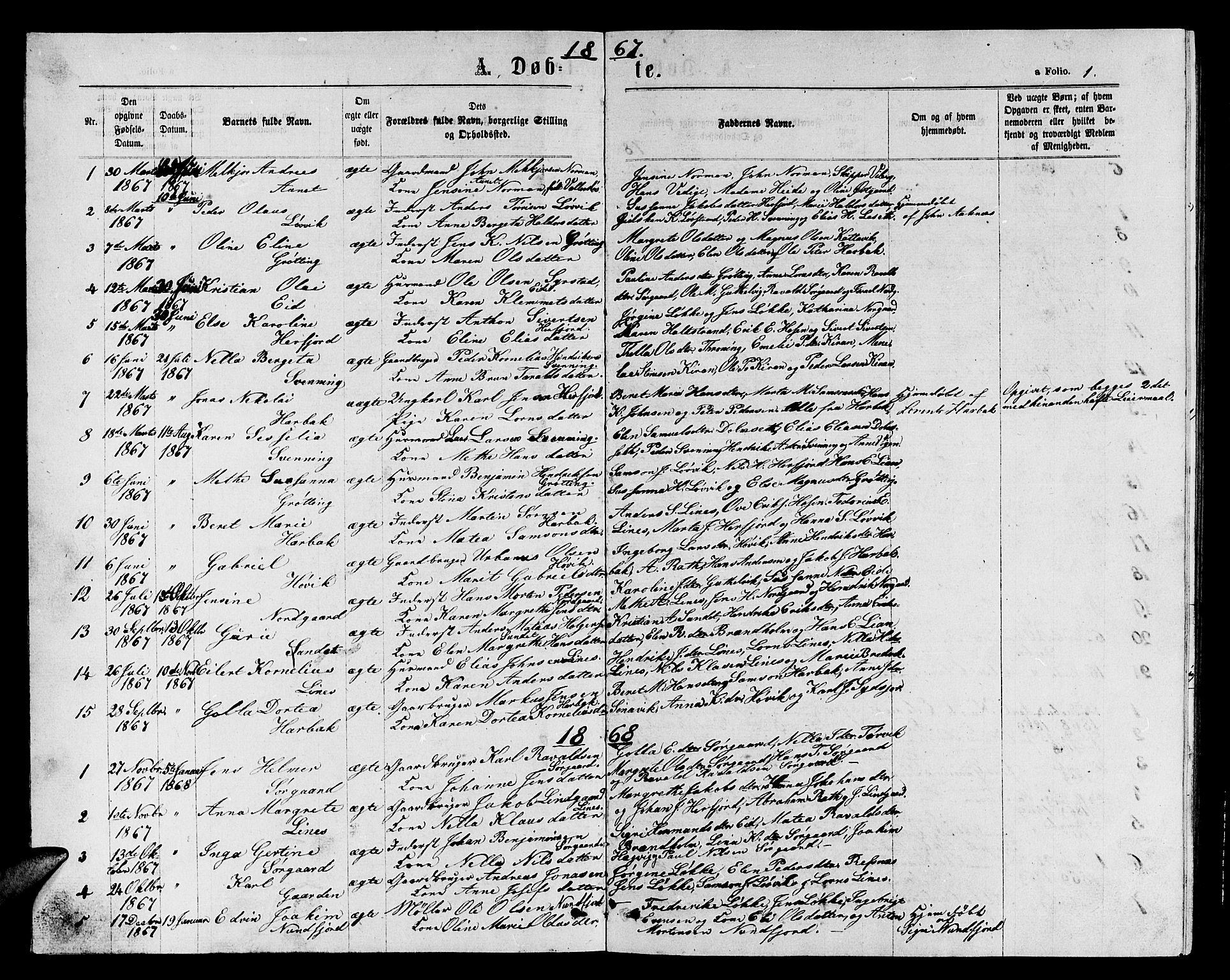 SAT, Ministerialprotokoller, klokkerbøker og fødselsregistre - Sør-Trøndelag, 656/L0695: Klokkerbok nr. 656C01, 1867-1889, s. 1