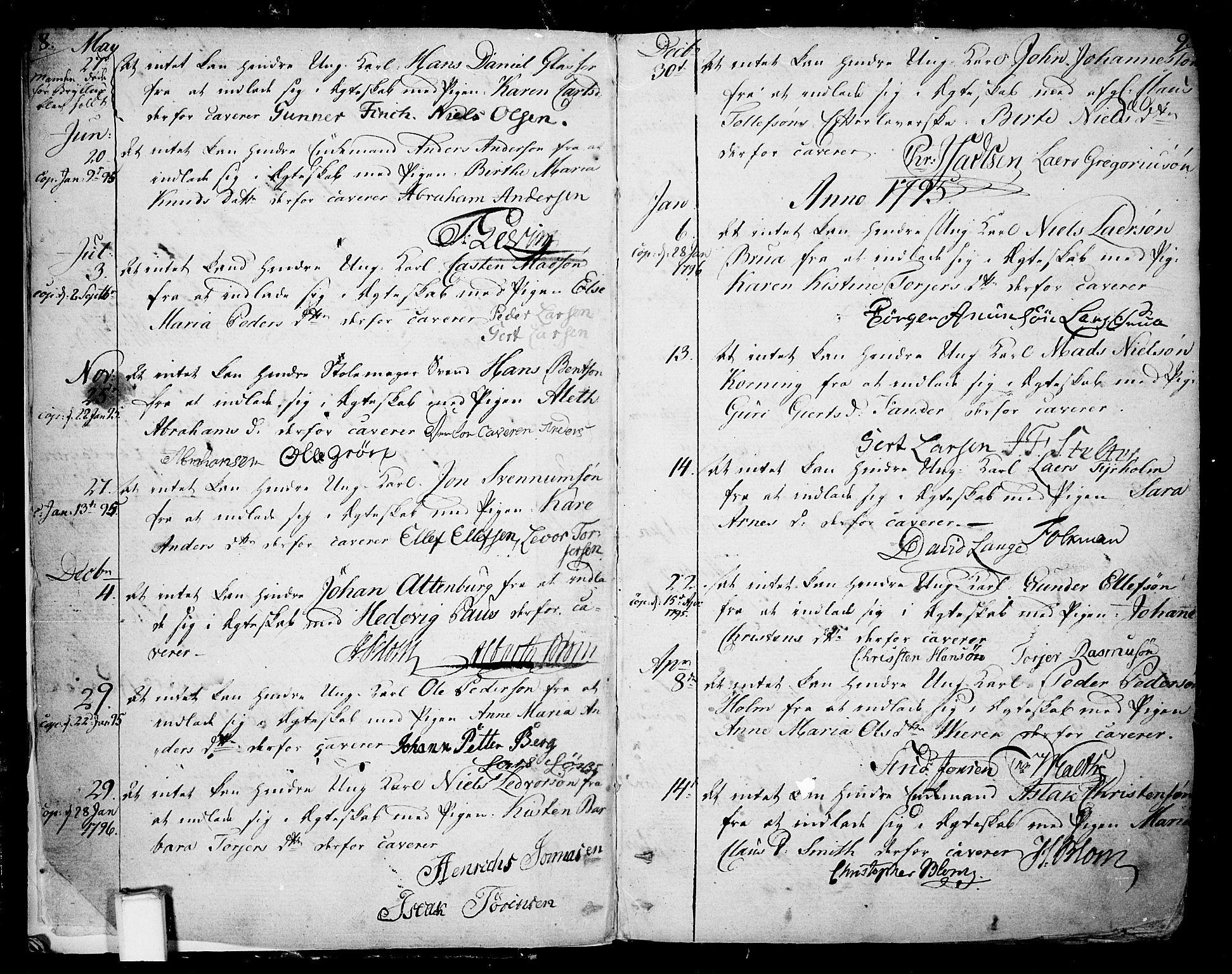 SAKO, Skien kirkebøker, F/Fa/L0004: Ministerialbok nr. 4, 1792-1814, s. 8-9