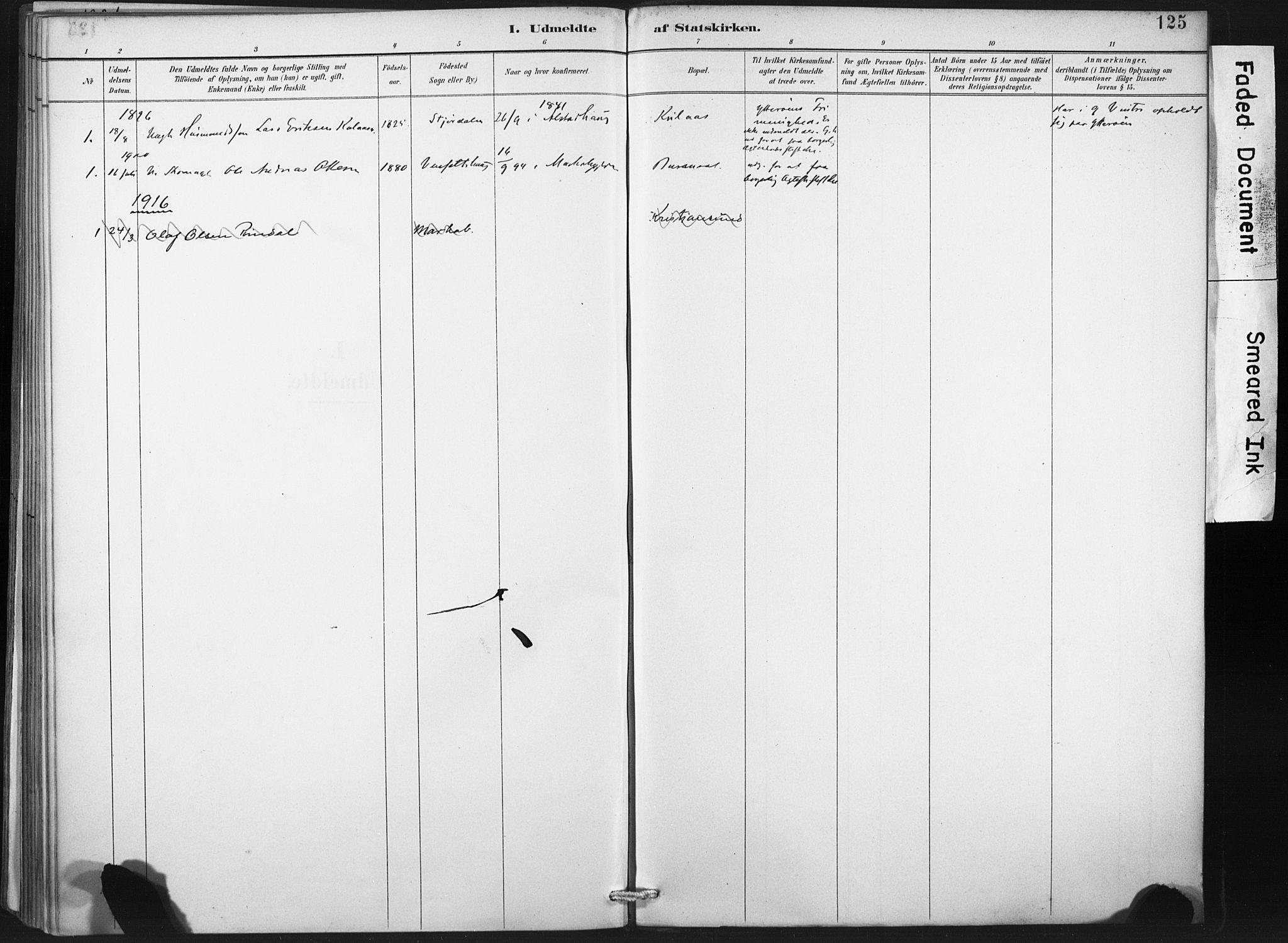 SAT, Ministerialprotokoller, klokkerbøker og fødselsregistre - Nord-Trøndelag, 718/L0175: Ministerialbok nr. 718A01, 1890-1923, s. 125