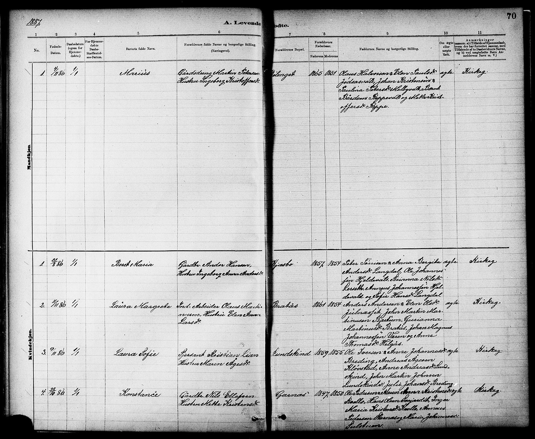SAT, Ministerialprotokoller, klokkerbøker og fødselsregistre - Nord-Trøndelag, 724/L0267: Klokkerbok nr. 724C03, 1879-1898, s. 70