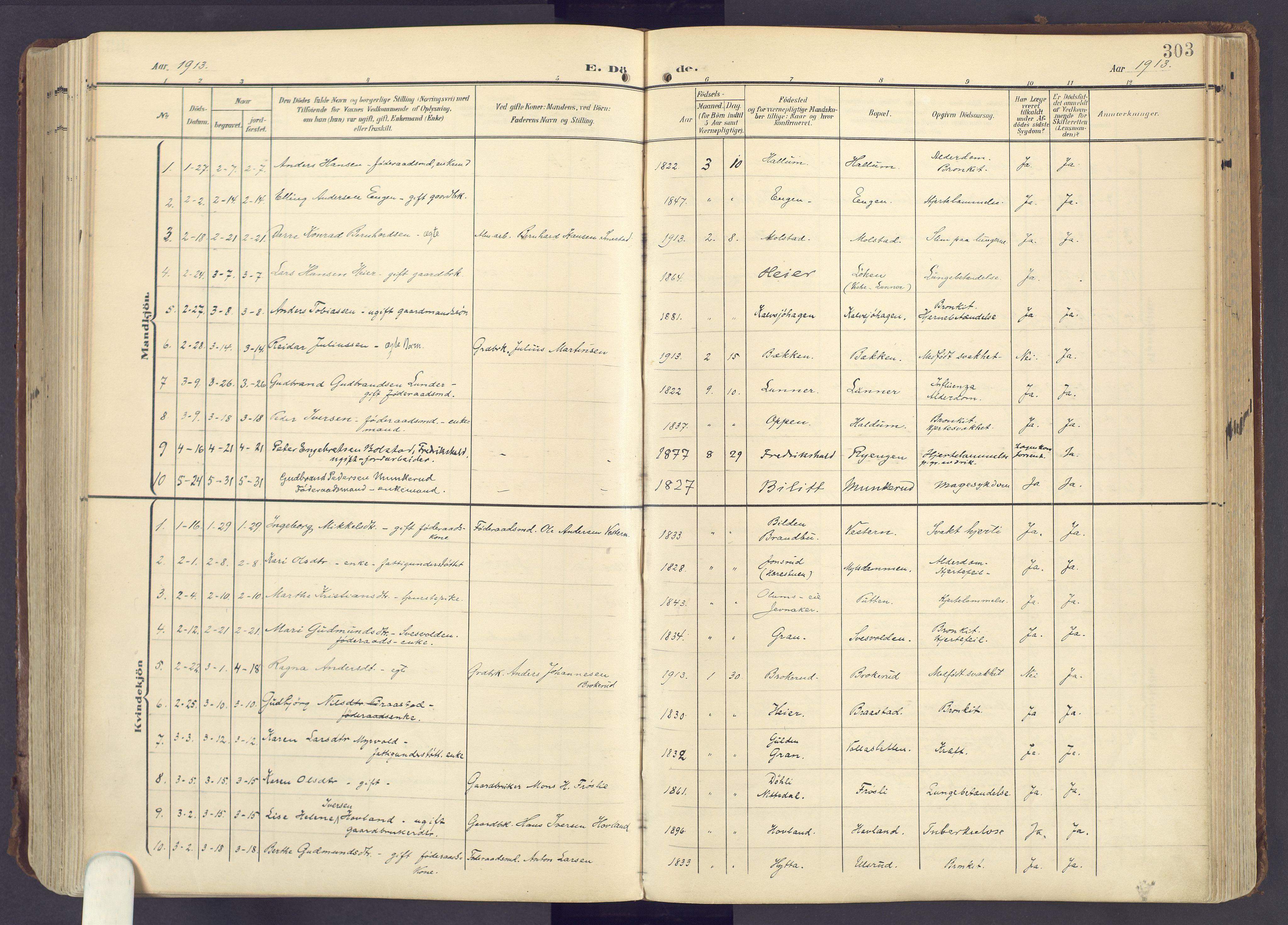 SAH, Lunner prestekontor, H/Ha/Haa/L0001: Ministerialbok nr. 1, 1907-1922, s. 303