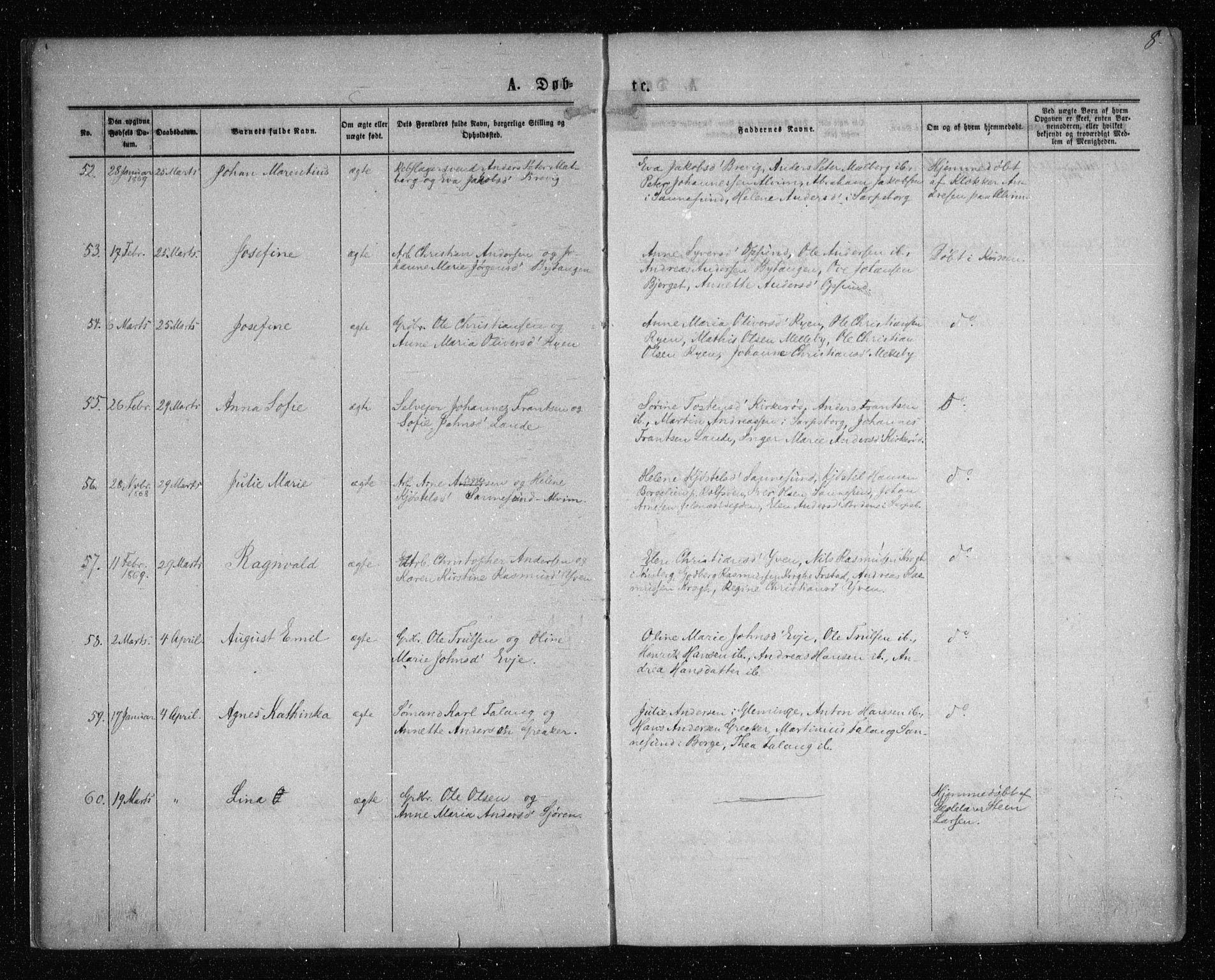 SAO, Tune prestekontor Kirkebøker, F/Fa/L0015: Ministerialbok nr. 15, 1869-1873, s. 8