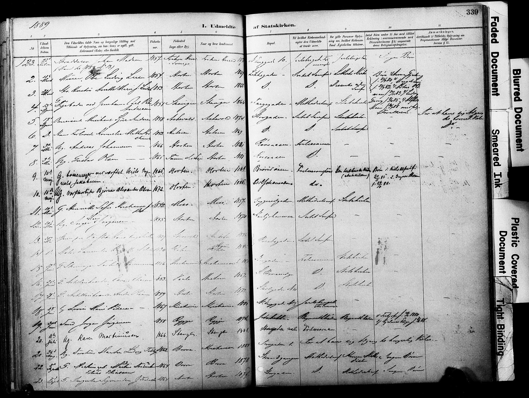 SAKO, Horten kirkebøker, F/Fa/L0004: Ministerialbok nr. 4, 1888-1895, s. 339