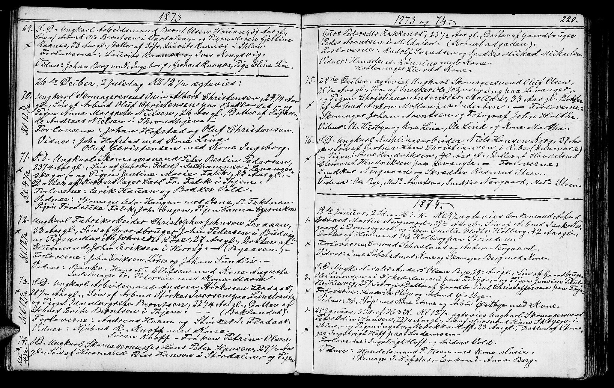 SAT, Ministerialprotokoller, klokkerbøker og fødselsregistre - Sør-Trøndelag, 602/L0142: Klokkerbok nr. 602C10, 1872-1894, s. 220