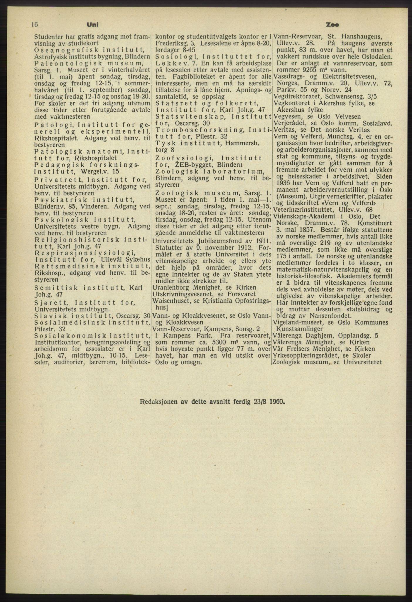 RA, Oslo adressebok (publikasjon)*, 1960-1961, s. 16