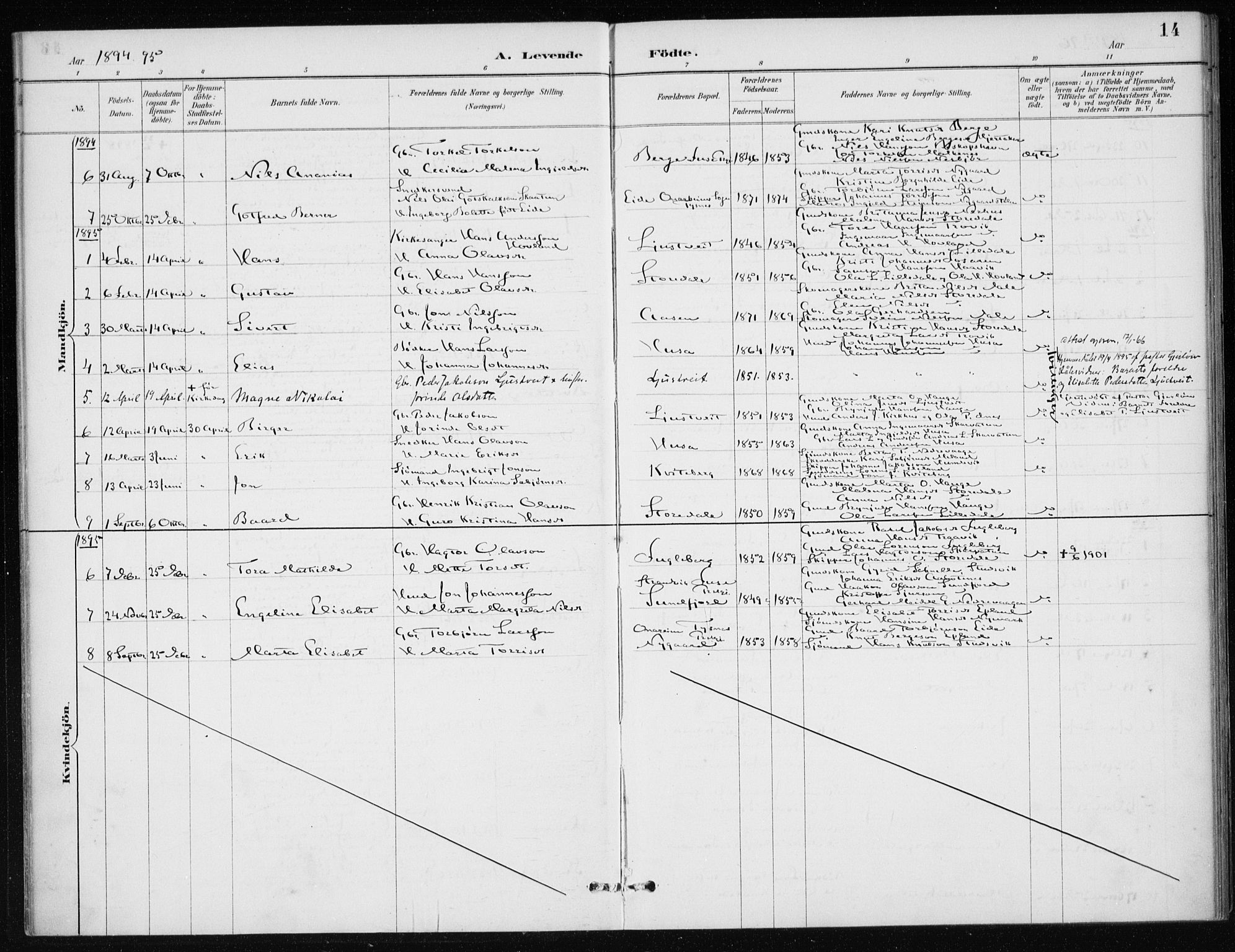 SAB, Kvinnherad Sokneprestembete, H/Haa: Ministerialbok nr. E 1, 1887-1912, s. 14
