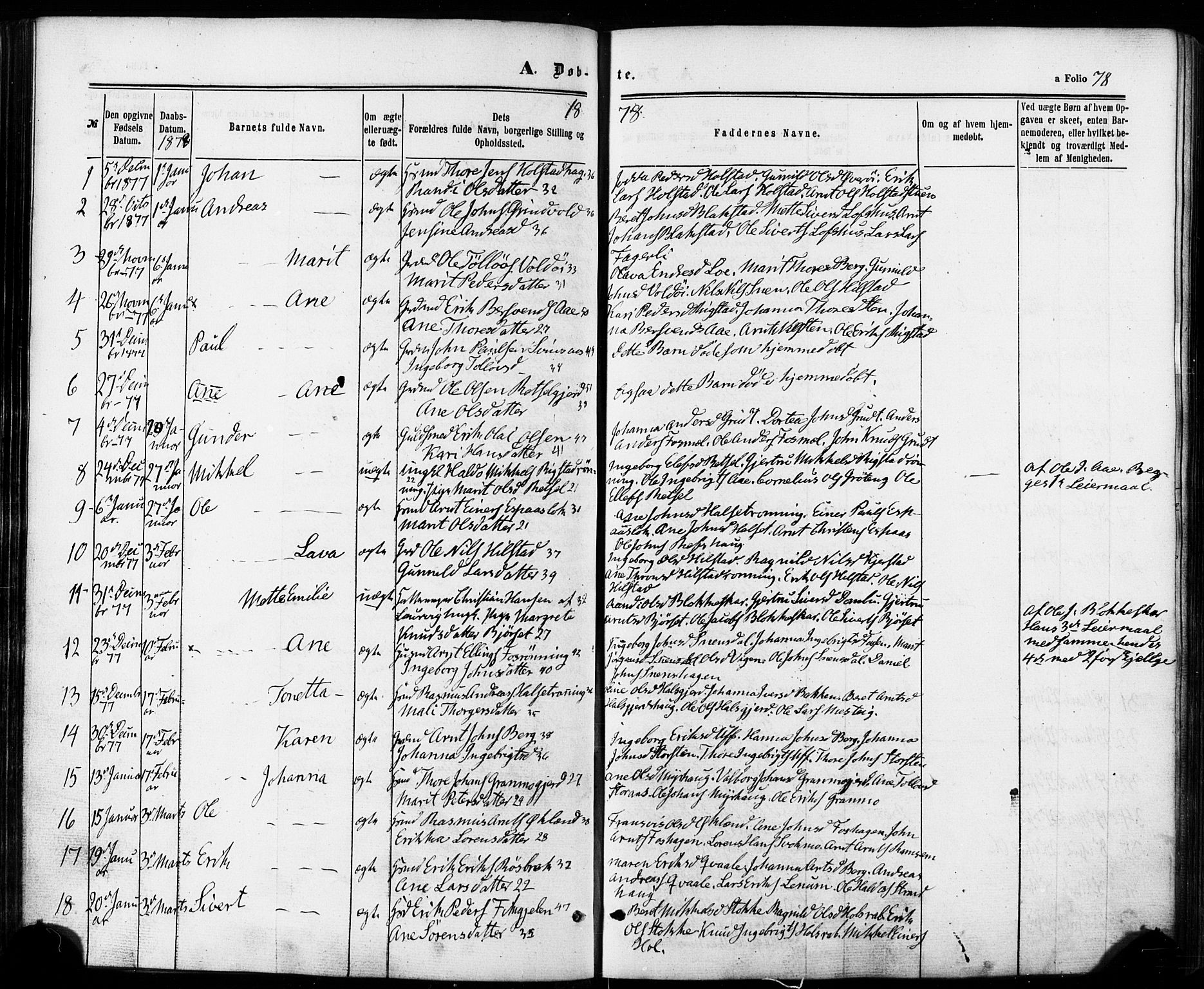 SAT, Ministerialprotokoller, klokkerbøker og fødselsregistre - Sør-Trøndelag, 672/L0856: Ministerialbok nr. 672A08, 1861-1881, s. 78