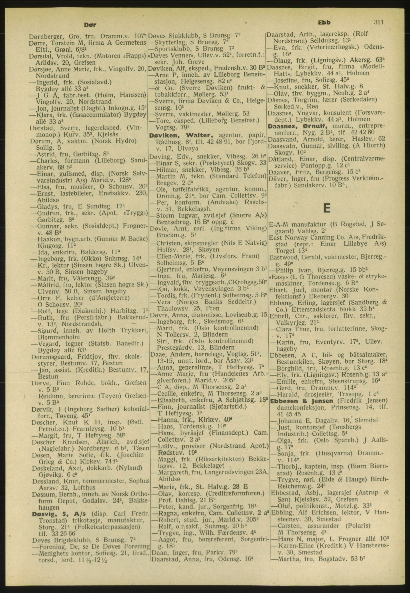 PUBL, Kristiania/Oslo adressebok, 1952, s. 311