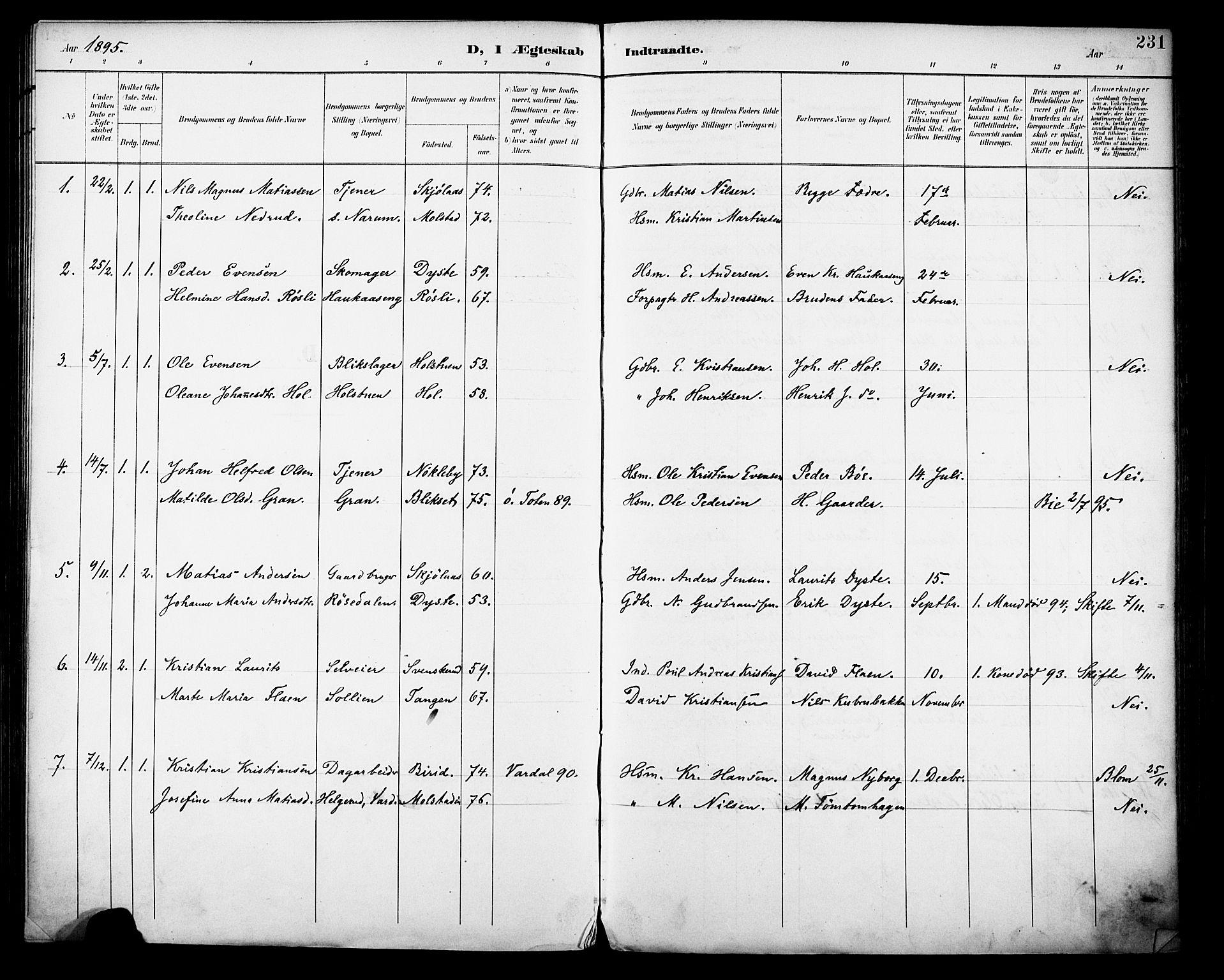 SAH, Vestre Toten prestekontor, Ministerialbok nr. 13, 1895-1911, s. 231