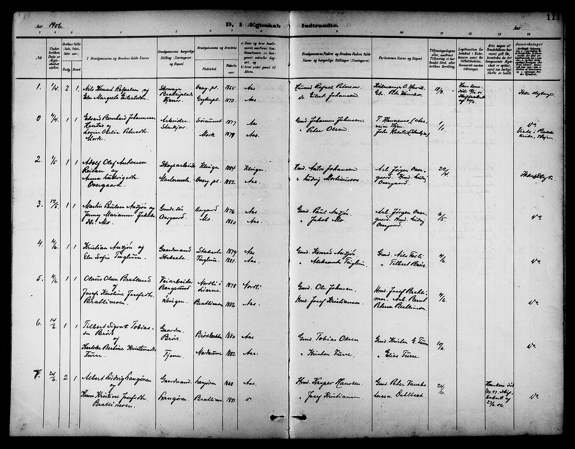 SAT, Ministerialprotokoller, klokkerbøker og fødselsregistre - Nord-Trøndelag, 742/L0412: Klokkerbok nr. 742C03, 1898-1910, s. 111