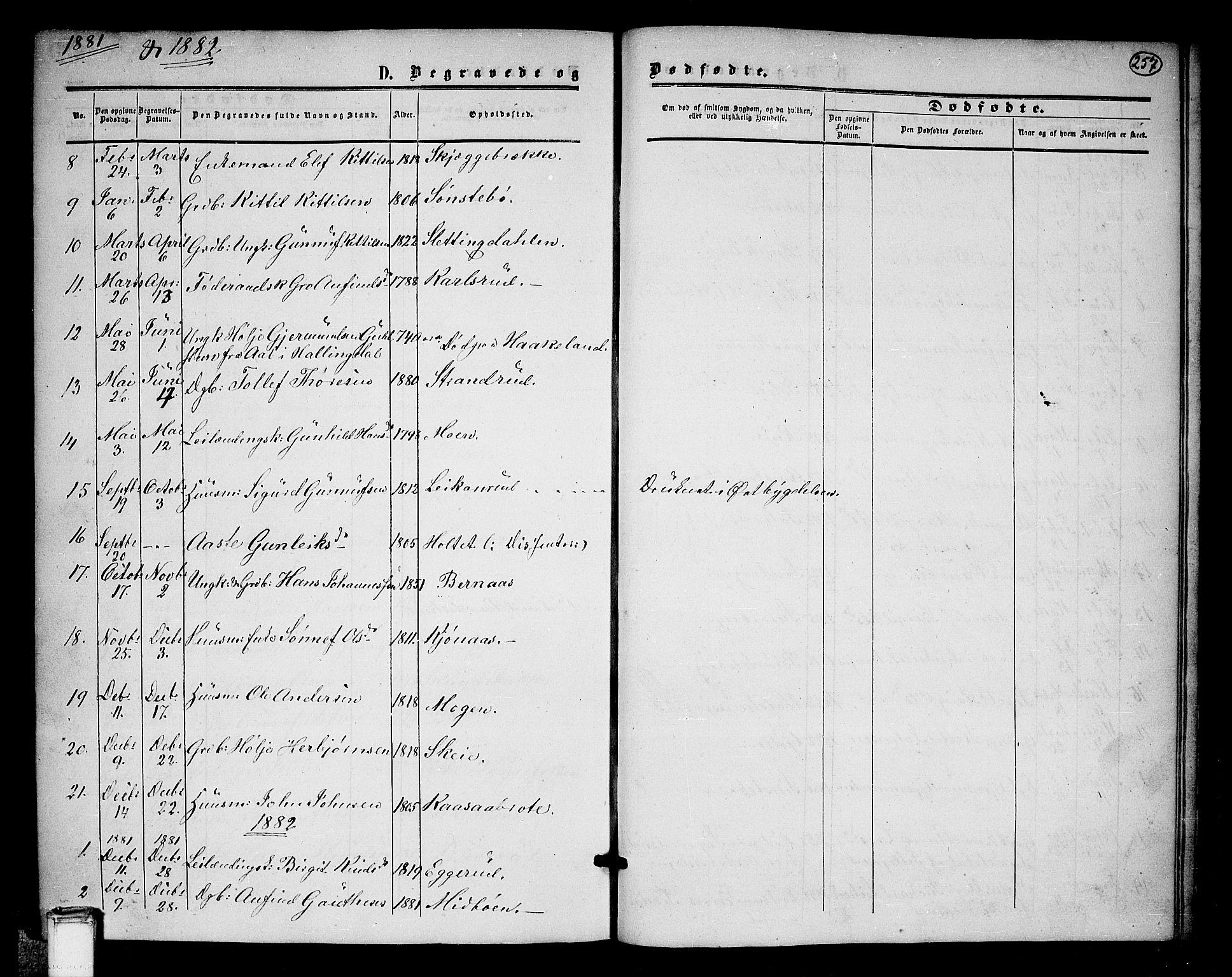 SAKO, Tinn kirkebøker, G/Ga/L0002: Klokkerbok nr. I 2, 1851-1883, s. 257