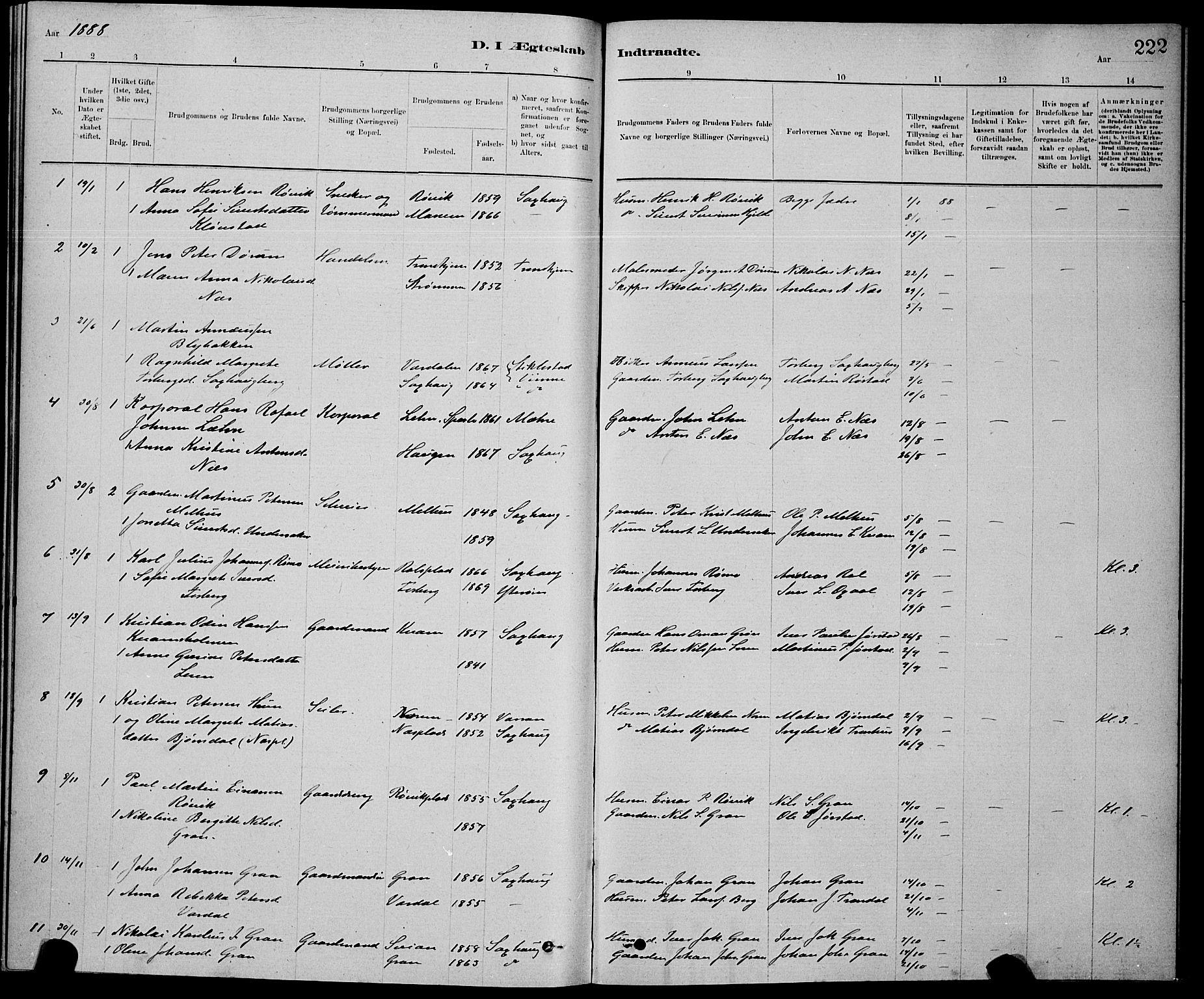 SAT, Ministerialprotokoller, klokkerbøker og fødselsregistre - Nord-Trøndelag, 730/L0301: Klokkerbok nr. 730C04, 1880-1897, s. 222