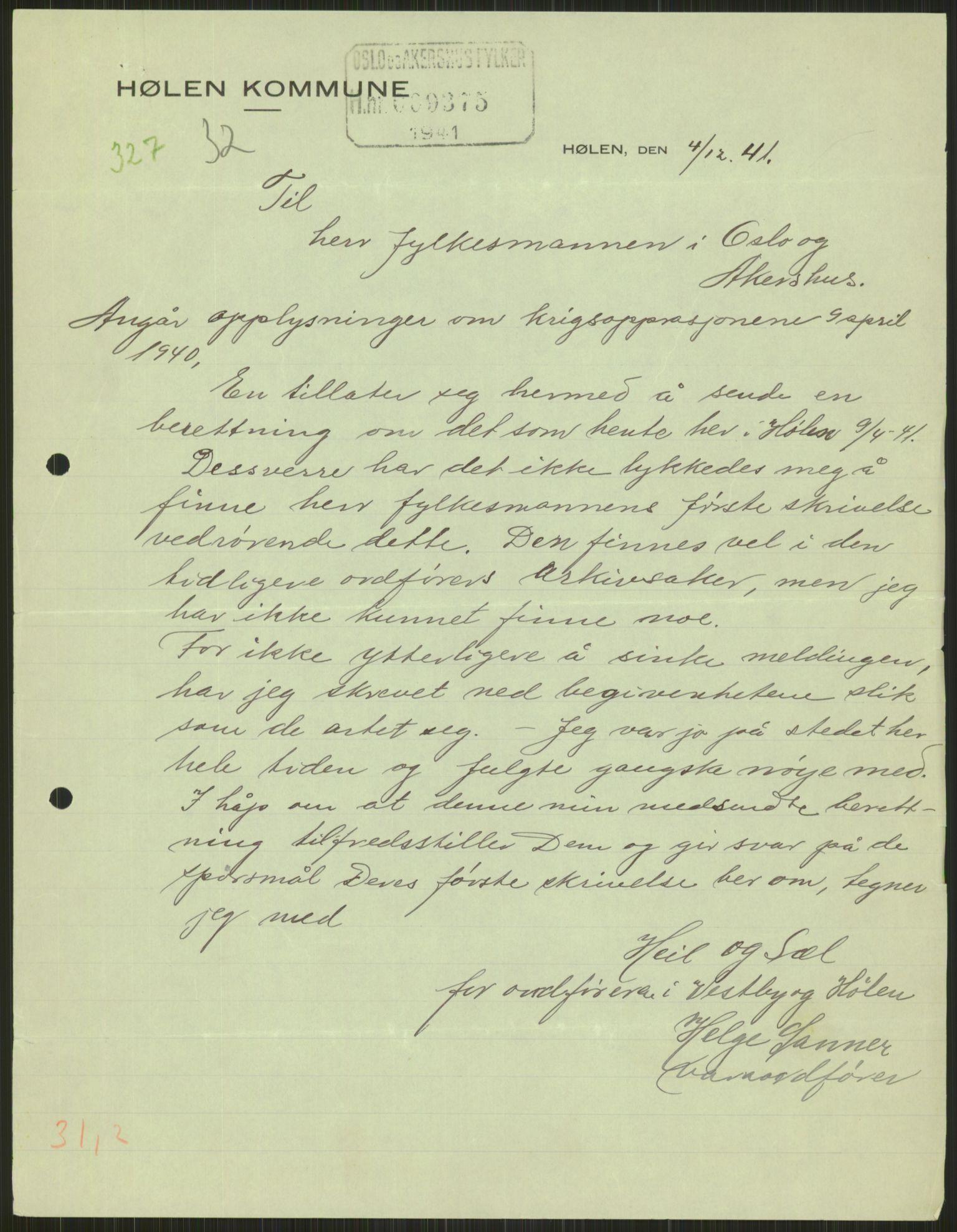 RA, Forsvaret, Forsvarets krigshistoriske avdeling, Y/Ya/L0013: II-C-11-31 - Fylkesmenn.  Rapporter om krigsbegivenhetene 1940., 1940, s. 756