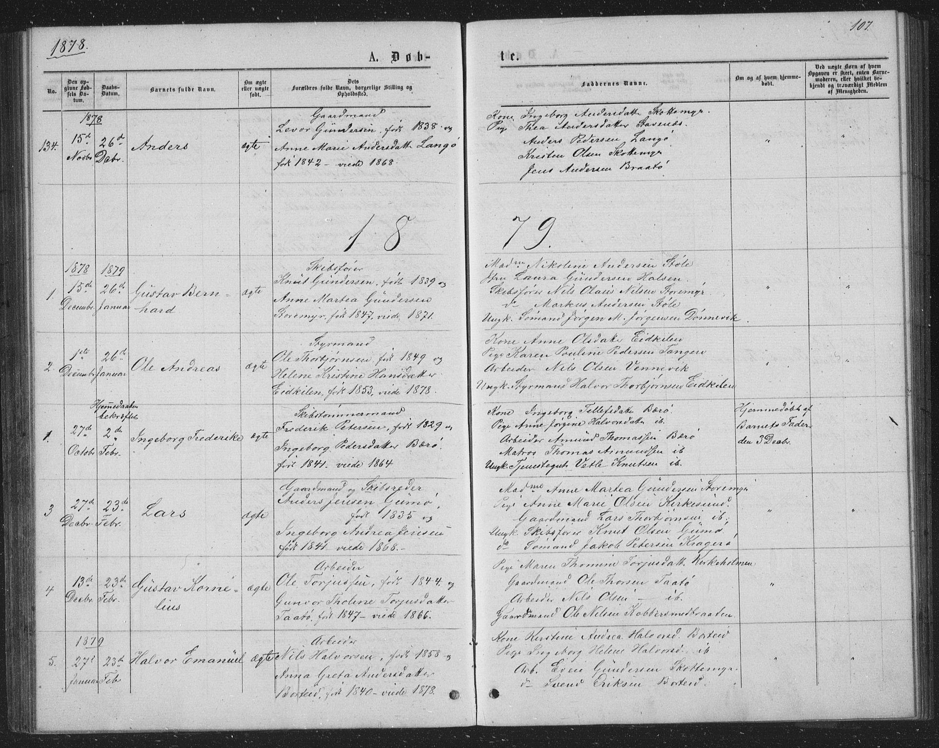 SAKO, Skåtøy kirkebøker, G/Ga/L0002: Klokkerbok nr. I 2, 1872-1884, s. 107