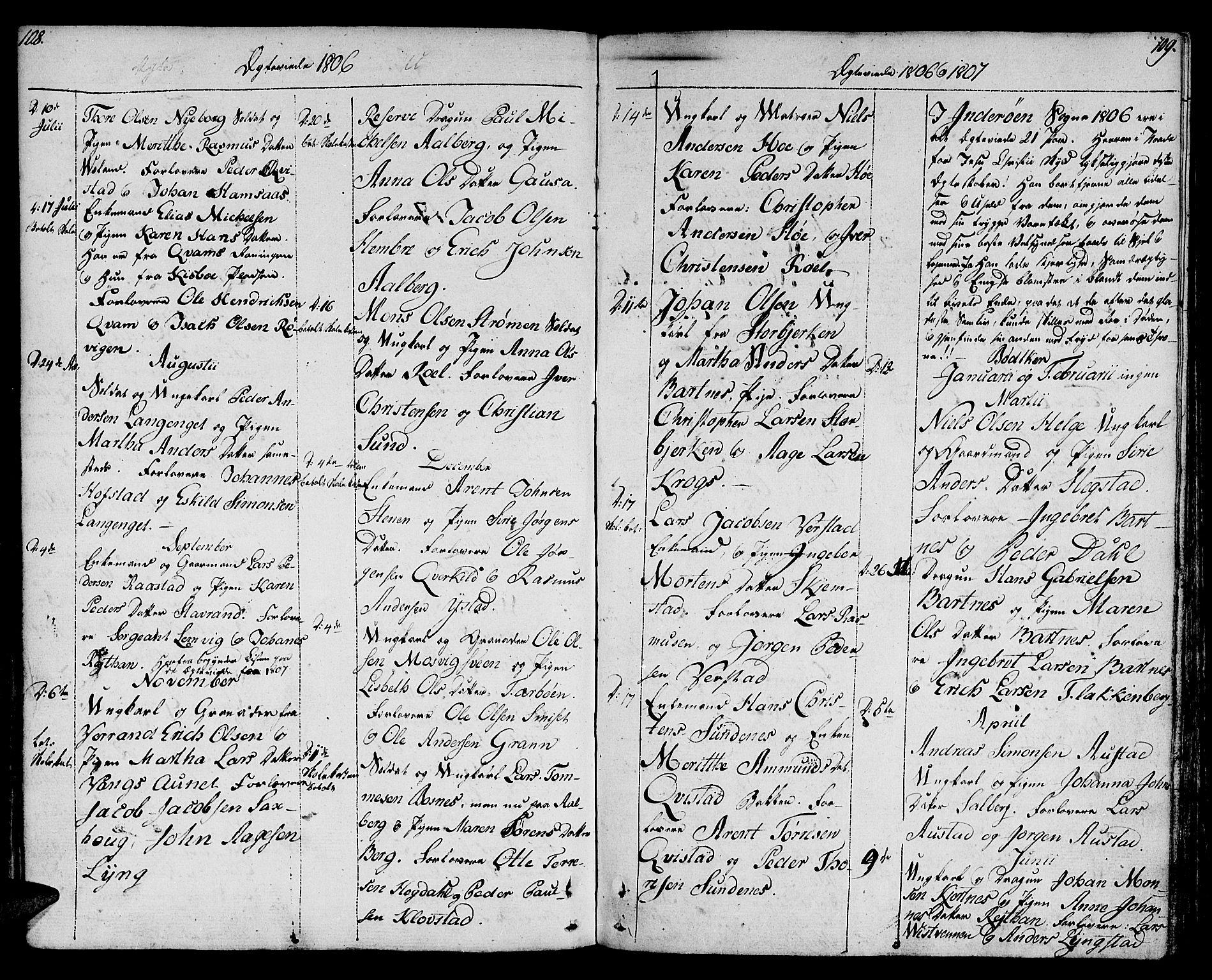 SAT, Ministerialprotokoller, klokkerbøker og fødselsregistre - Nord-Trøndelag, 730/L0274: Ministerialbok nr. 730A03, 1802-1816, s. 108-109