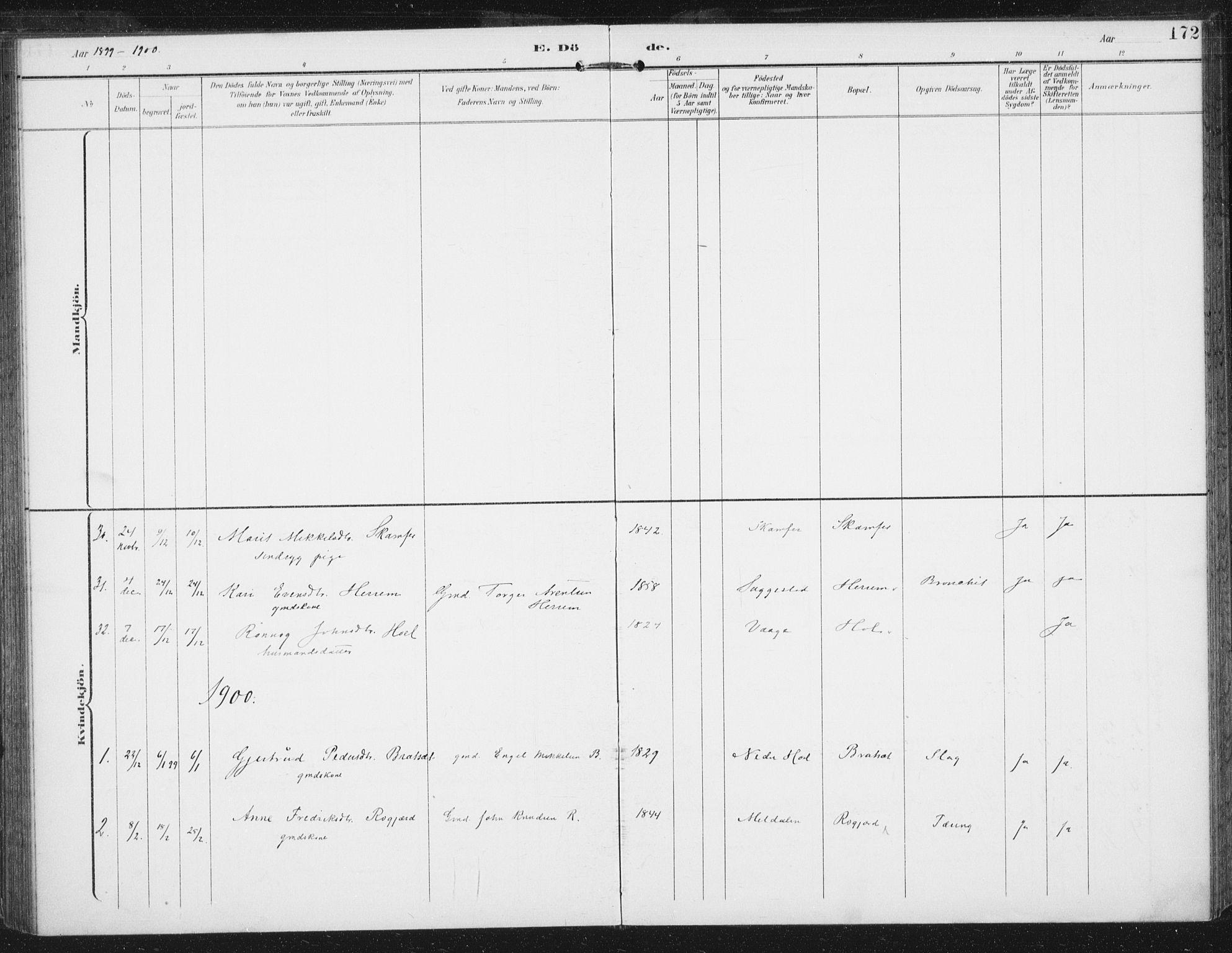 SAT, Ministerialprotokoller, klokkerbøker og fødselsregistre - Sør-Trøndelag, 674/L0872: Ministerialbok nr. 674A04, 1897-1907, s. 172