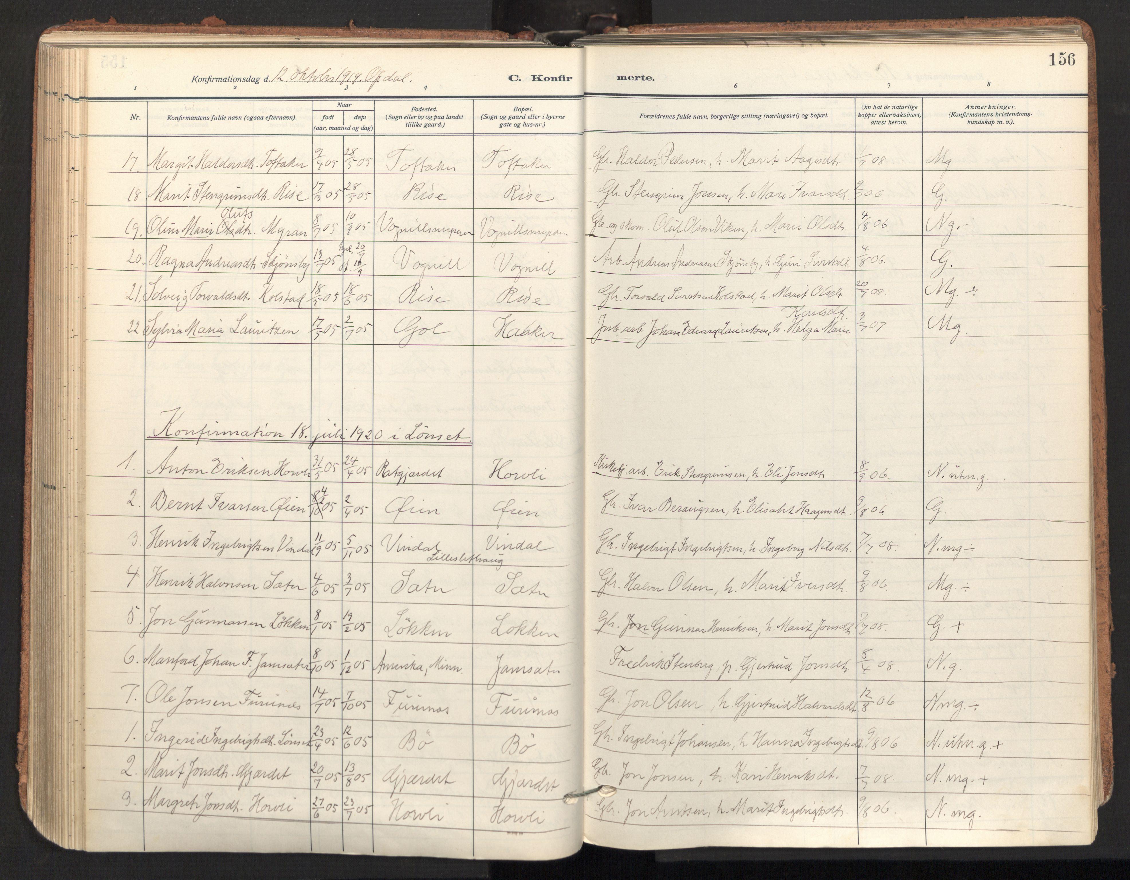 SAT, Ministerialprotokoller, klokkerbøker og fødselsregistre - Sør-Trøndelag, 678/L0909: Ministerialbok nr. 678A17, 1912-1930, s. 156