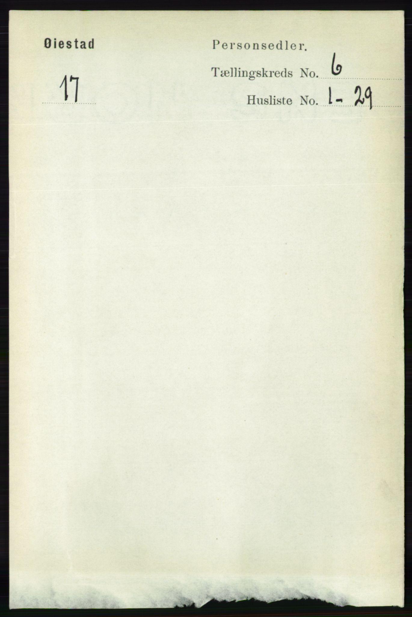 RA, Folketelling 1891 for 0920 Øyestad herred, 1891, s. 2130