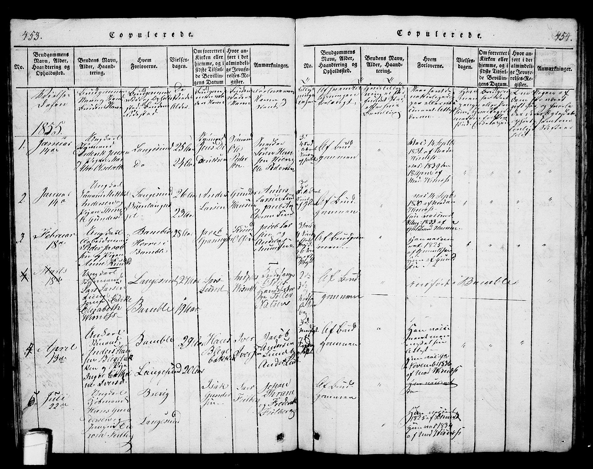 SAKO, Langesund kirkebøker, G/Ga/L0003: Klokkerbok nr. 3, 1815-1858, s. 453-454
