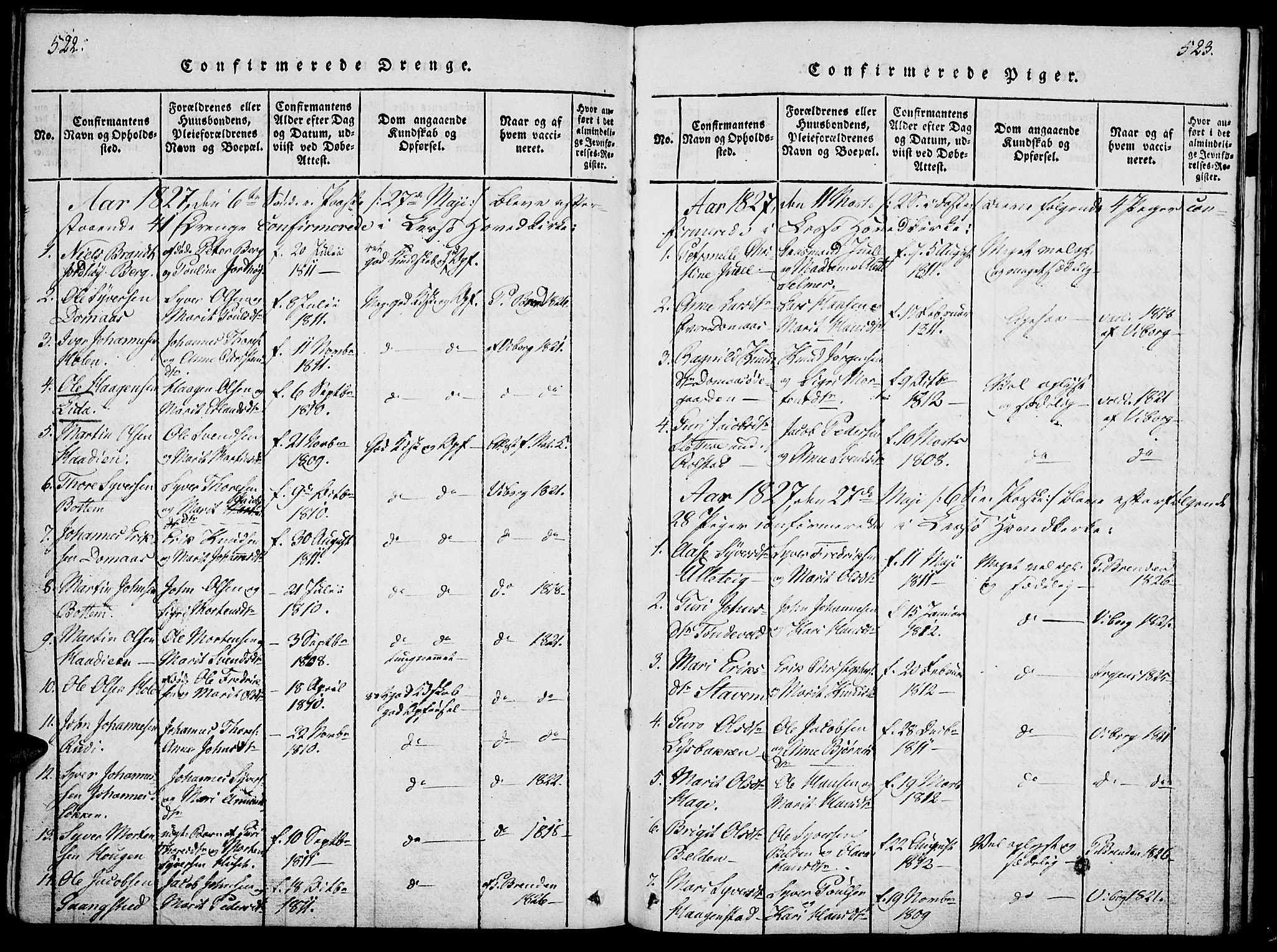 SAH, Lesja prestekontor, Ministerialbok nr. 4, 1820-1829, s. 522-523
