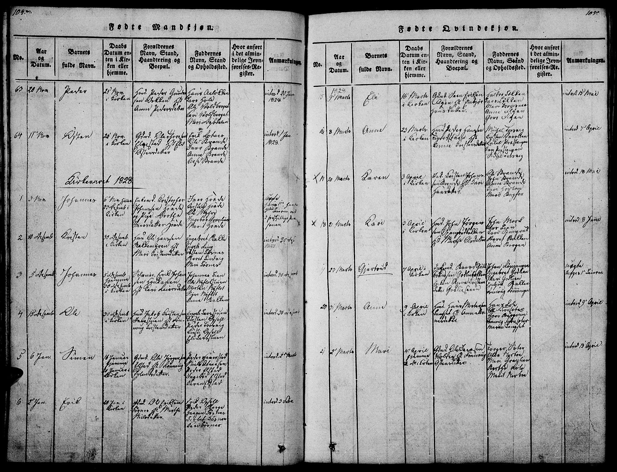 SAH, Ringebu prestekontor, Ministerialbok nr. 4, 1821-1839, s. 104-105