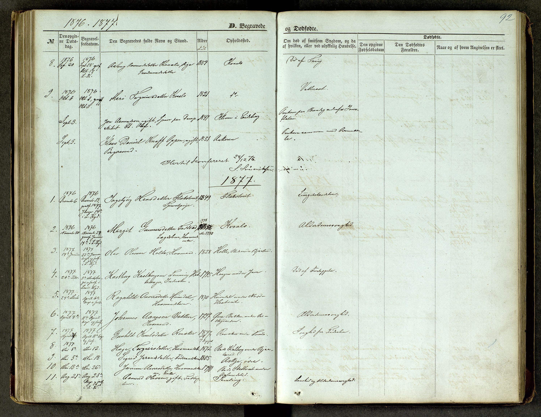 SAKO, Lårdal kirkebøker, G/Ga/L0002: Klokkerbok nr. I 2, 1861-1890, s. 92