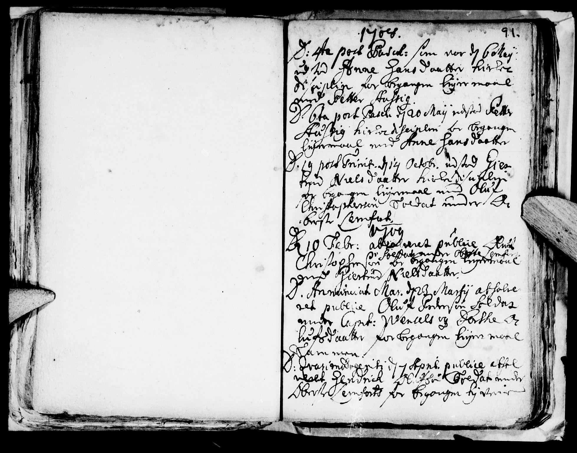 SAT, Ministerialprotokoller, klokkerbøker og fødselsregistre - Nord-Trøndelag, 722/L0214: Ministerialbok nr. 722A01, 1692-1718, s. 91