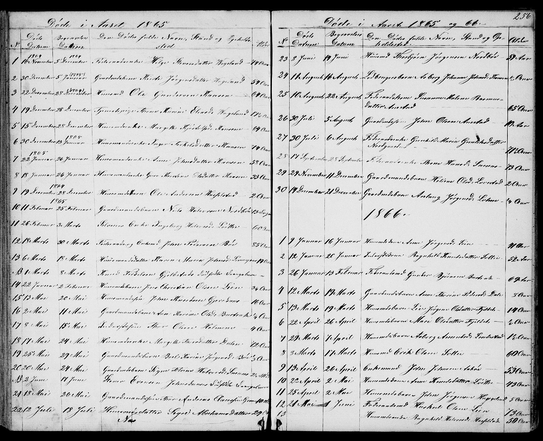SAKO, Drangedal kirkebøker, G/Gb/L0001: Klokkerbok nr. II 1, 1856-1894, s. 256