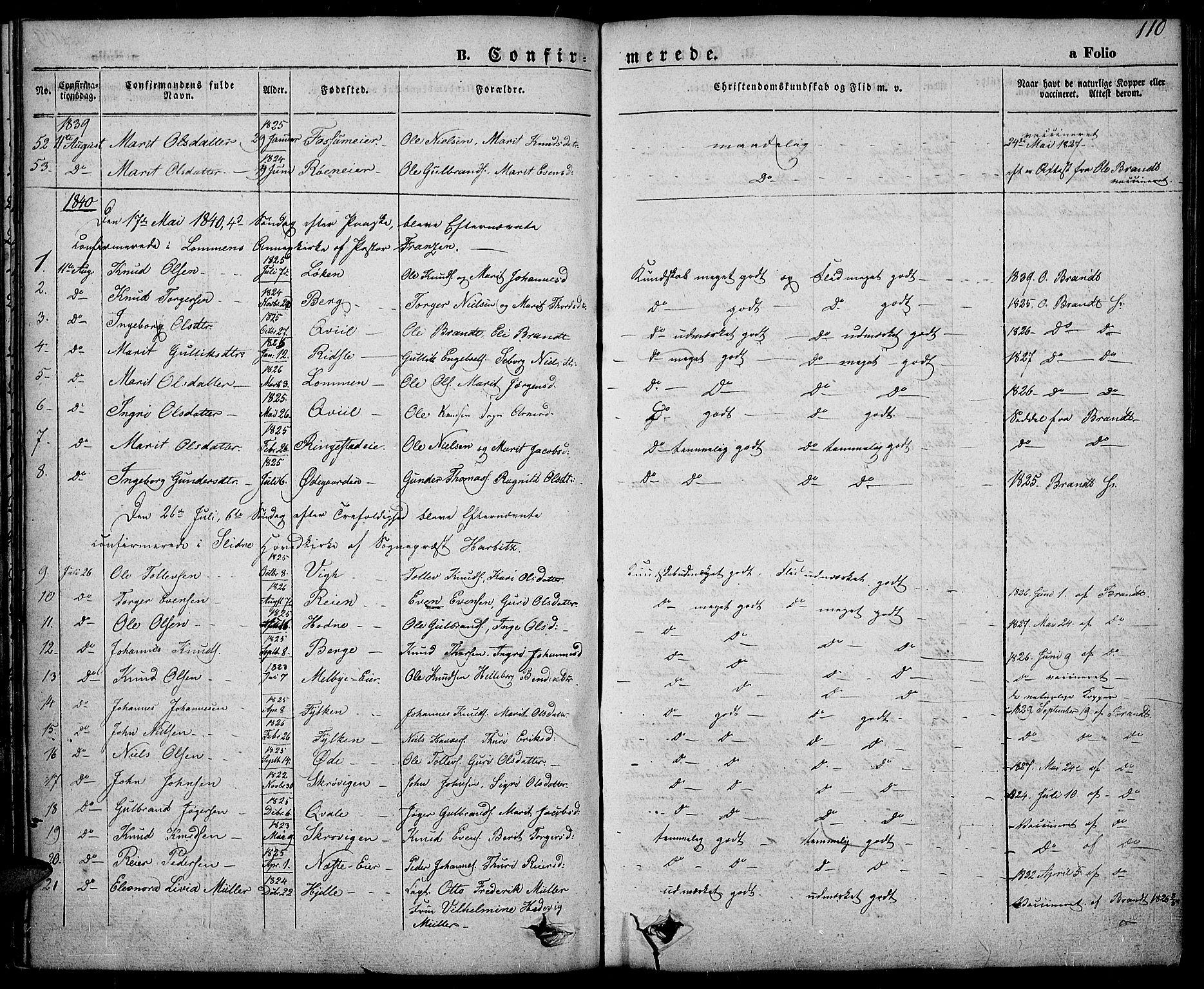 SAH, Slidre prestekontor, Ministerialbok nr. 3, 1831-1843, s. 110