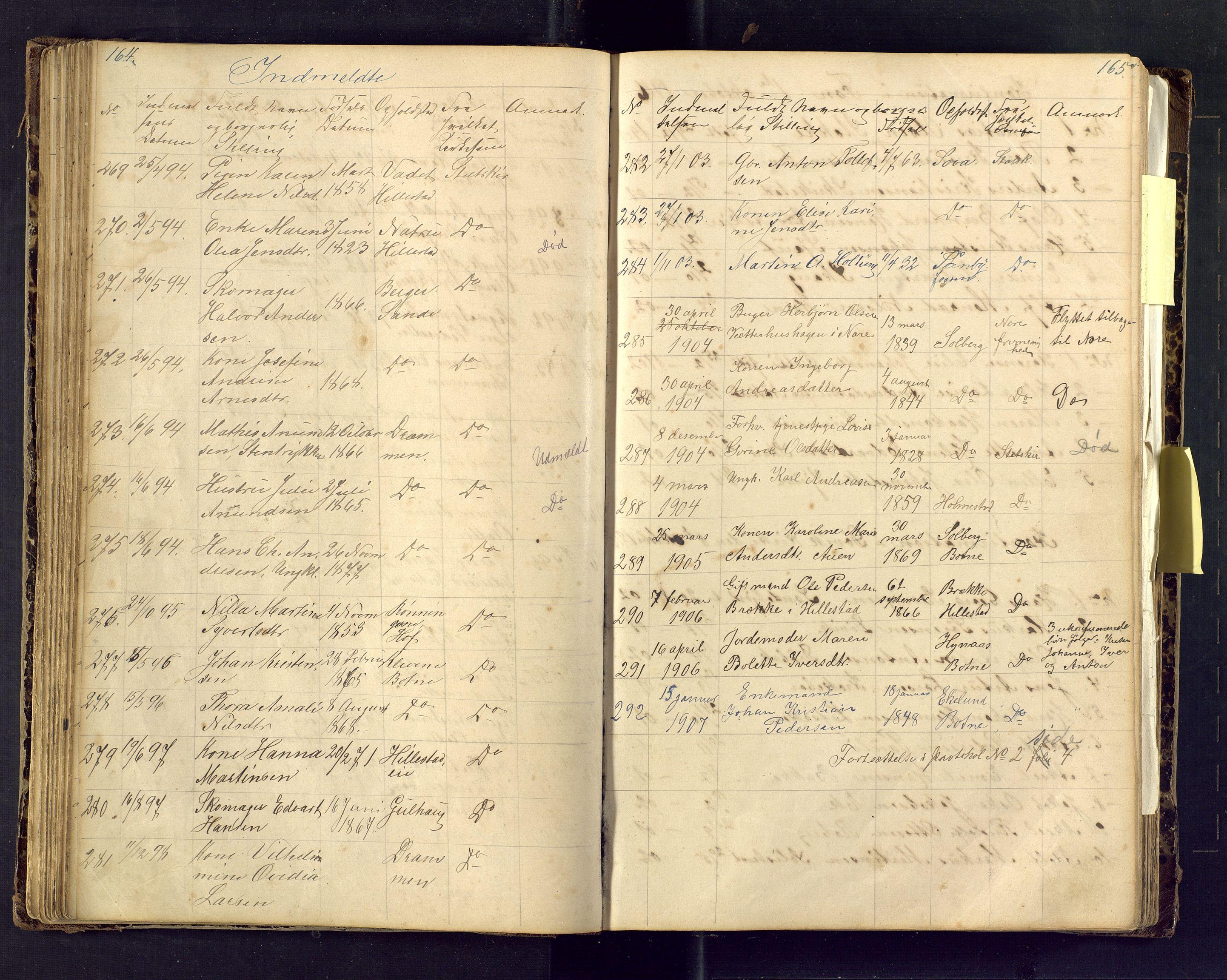 SAKO, Den evangelisk lutherske frimenighet i Jarlsbergs grevskap med flere steder, F/Fa/L0001: Dissenterprotokoll nr. Fa/L0001, 1872-1925, s. 164-165