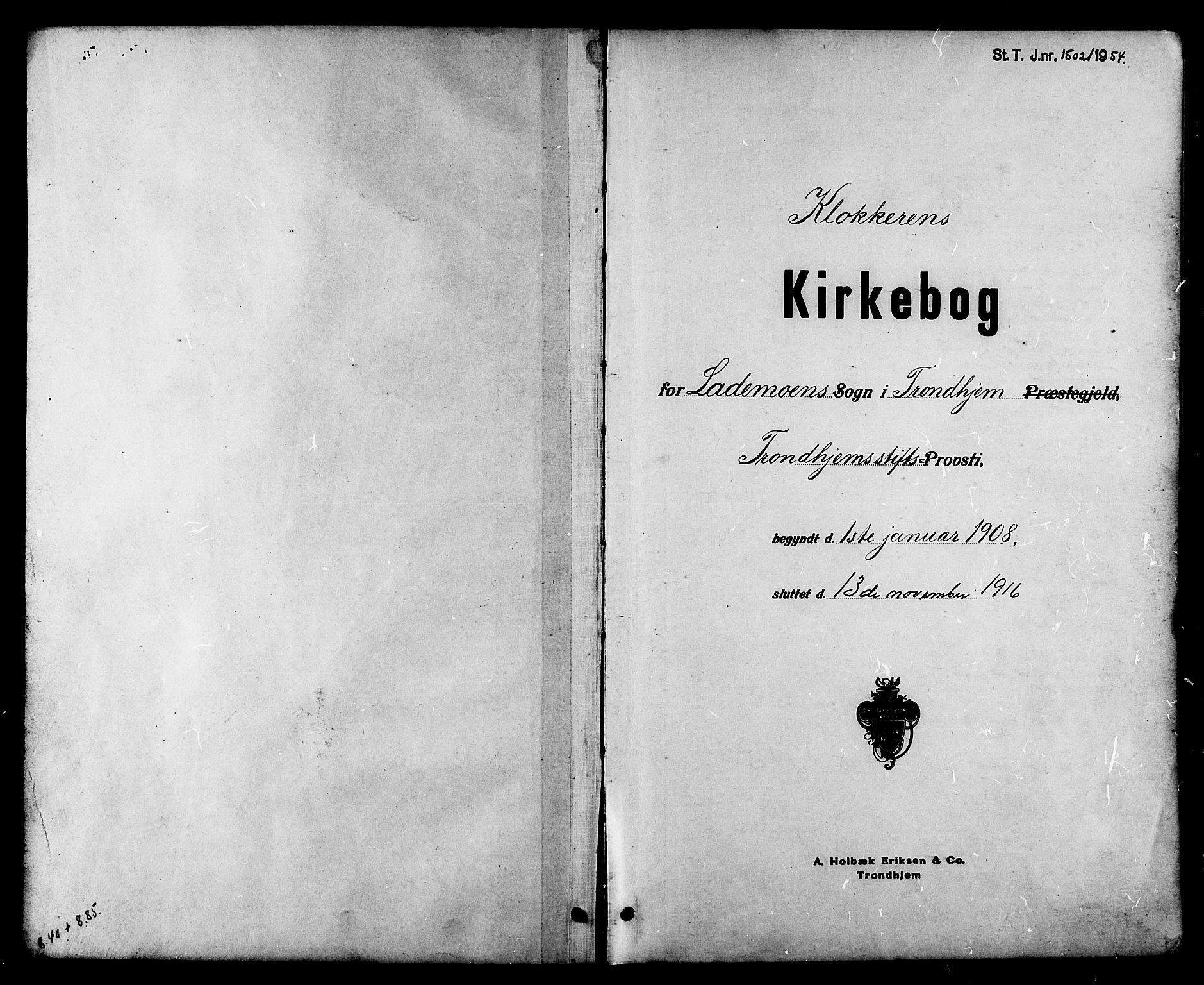 SAT, Ministerialprotokoller, klokkerbøker og fødselsregistre - Sør-Trøndelag, 605/L0255: Klokkerbok nr. 605C02, 1908-1918