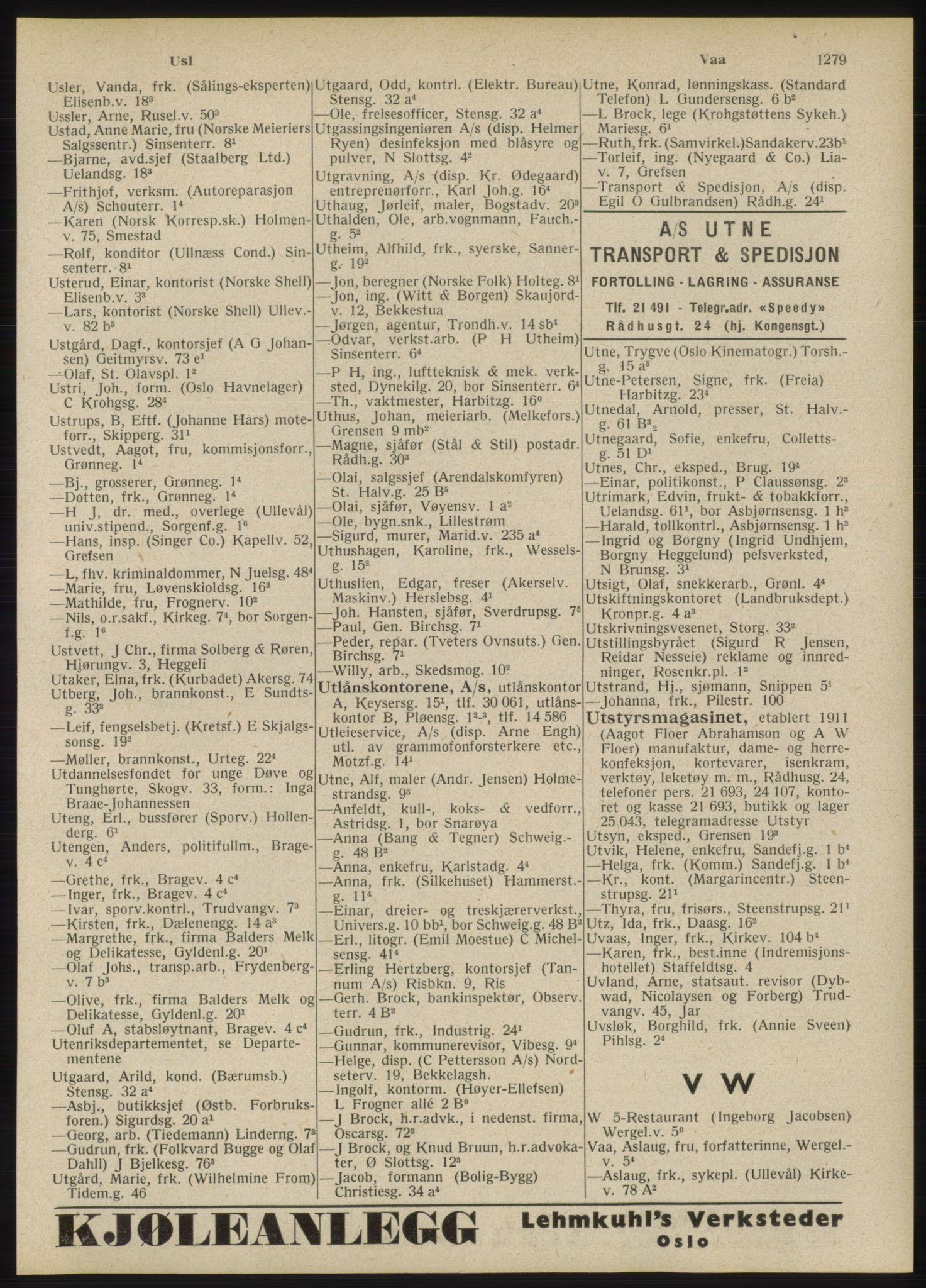 RA, Oslo adressebok (publikasjon)*, 1946, s. 1279