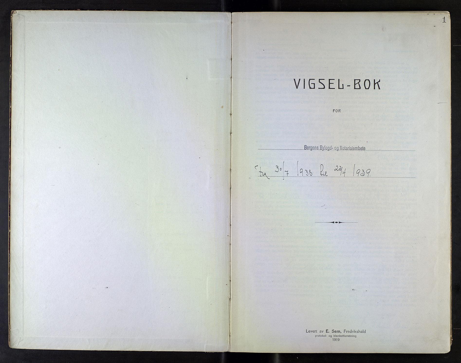 SAB, Bergen byfogd og byskriver*, 1938-1939, s. 1a