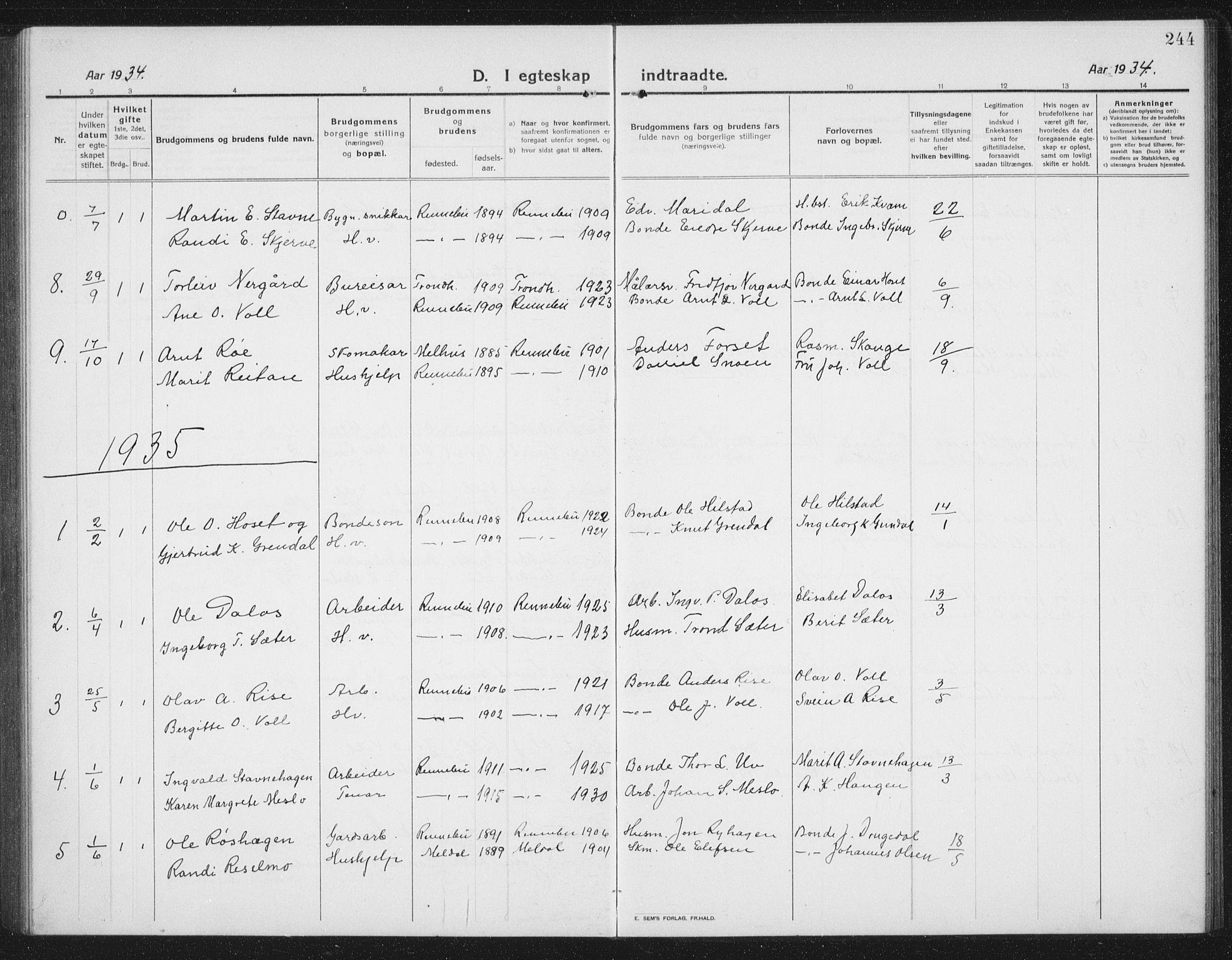 SAT, Ministerialprotokoller, klokkerbøker og fødselsregistre - Sør-Trøndelag, 674/L0877: Klokkerbok nr. 674C04, 1913-1940, s. 244