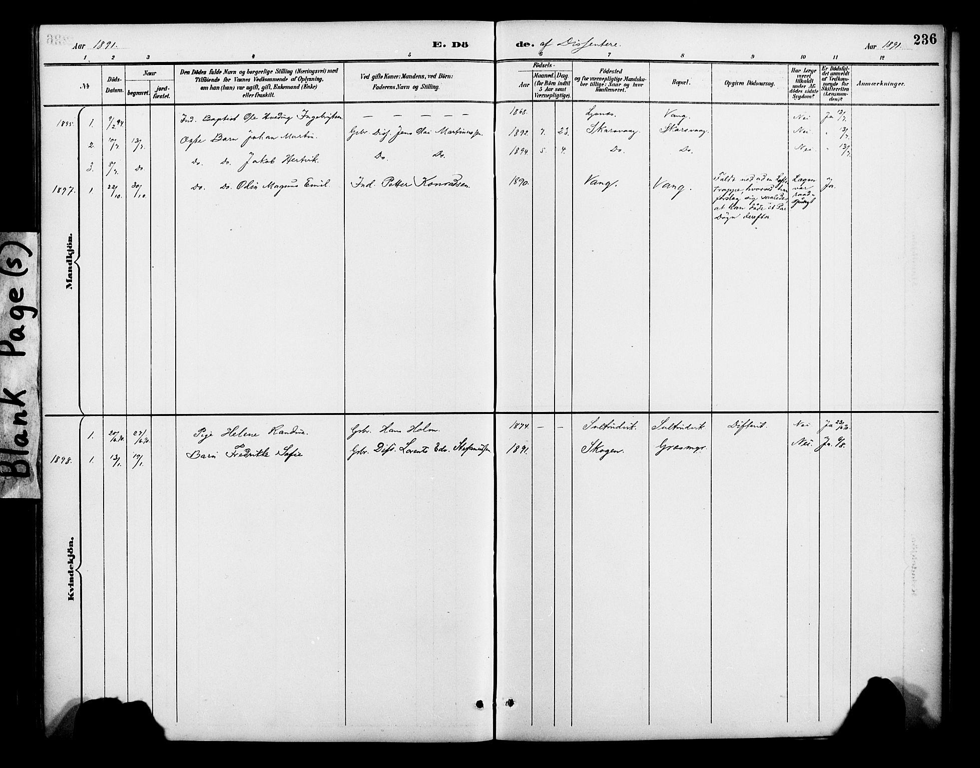 SATØ, Lenvik sokneprestembete, H/Ha: Ministerialbok nr. 13, 1890-1898, s. 236