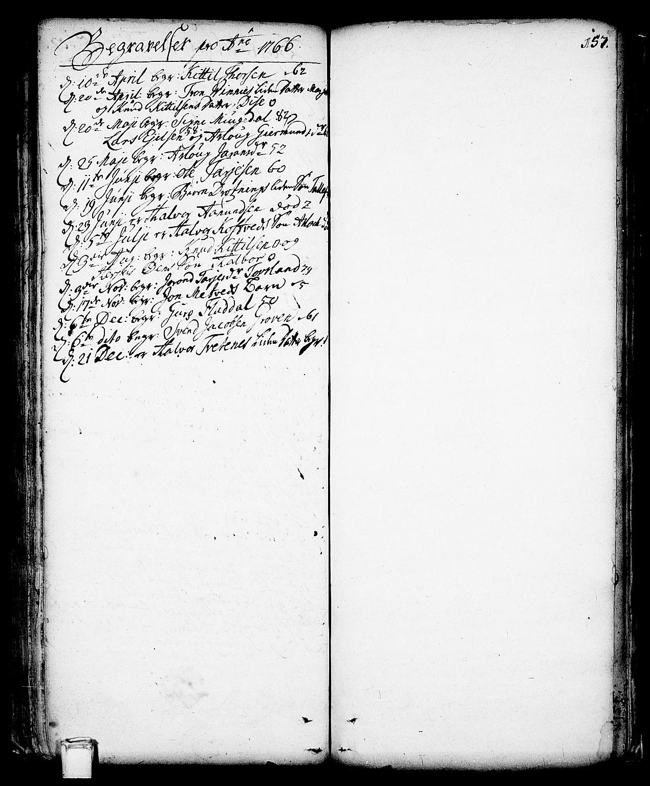 SAKO, Vinje kirkebøker, F/Fa/L0001: Ministerialbok nr. I 1, 1717-1766, s. 157