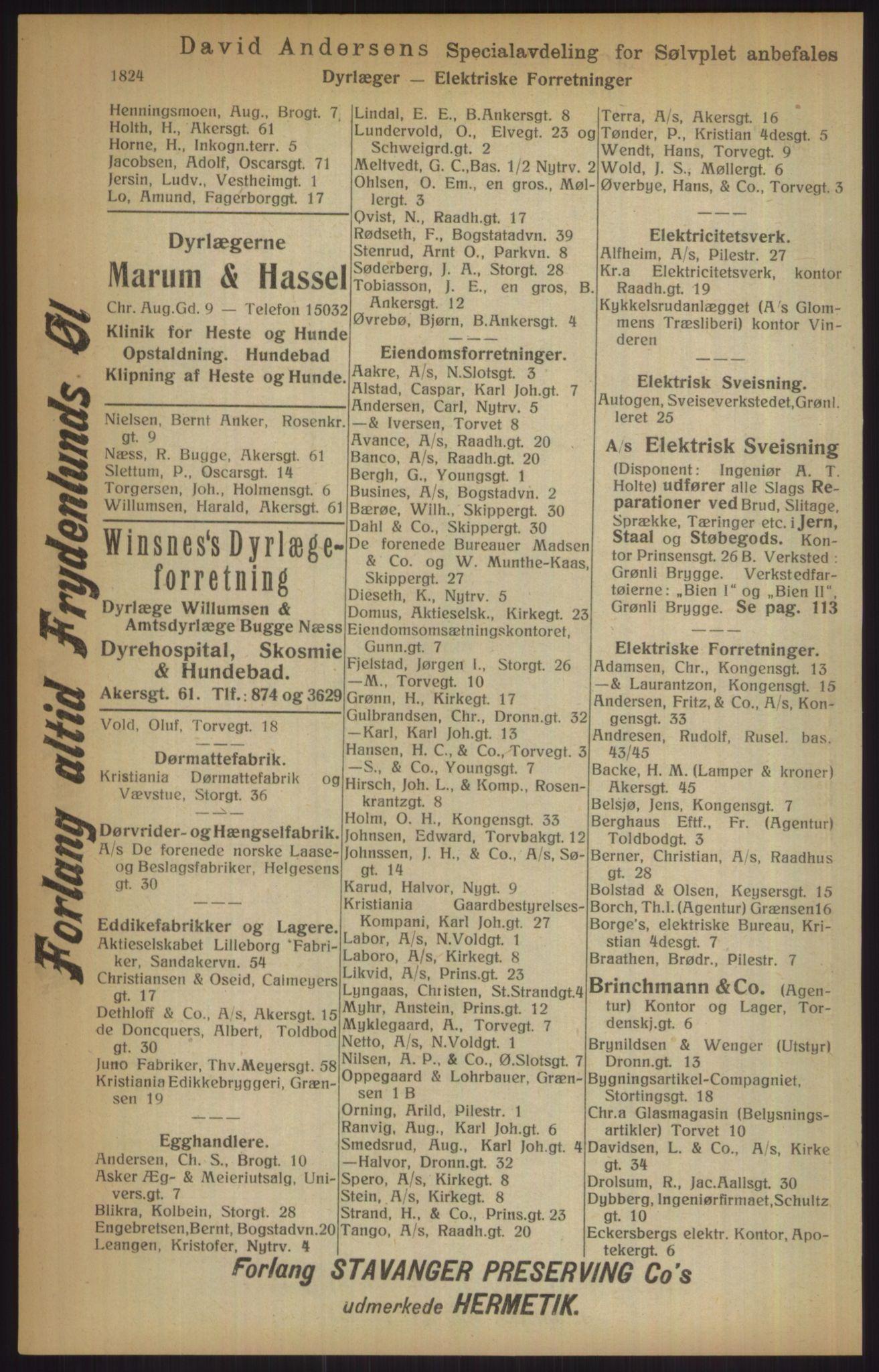 RA, Kristiania adressebok (publikasjon)*, 1915, s. 1824