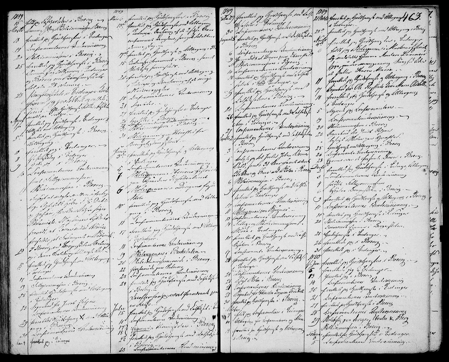 SAKO, Eidanger kirkebøker, F/Fa/L0008: Ministerialbok nr. 8, 1831-1858, s. 463