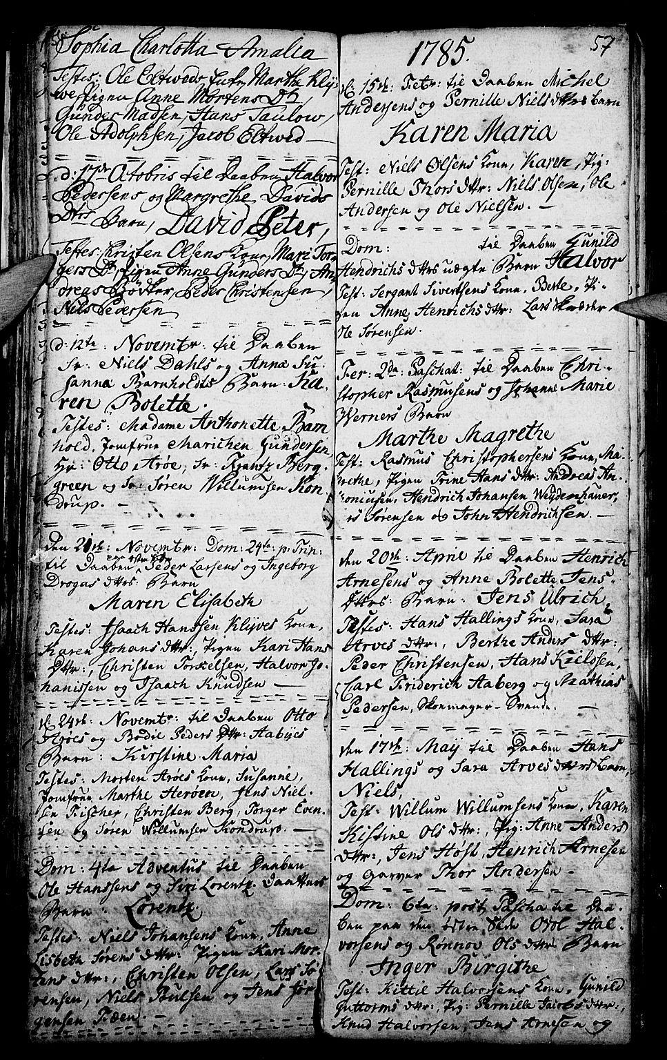SAKO, Porsgrunn kirkebøker , G/Ga/L0001: Klokkerbok nr. I 1, 1766-1790, s. 56-57