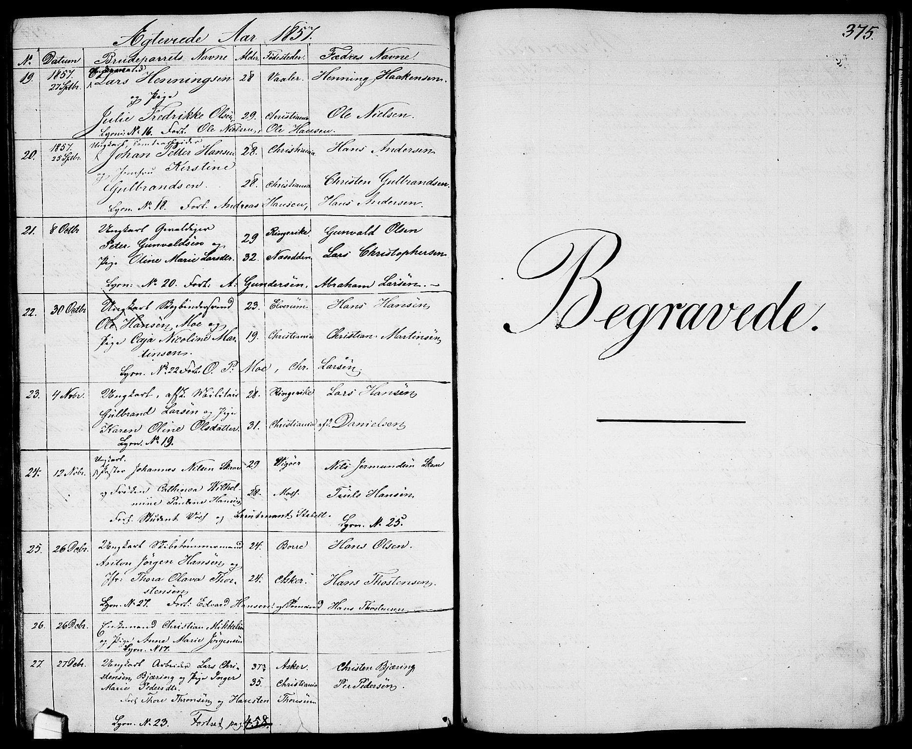 SAO, Garnisonsmenigheten Kirkebøker, G/Ga/L0005: Klokkerbok nr. 5, 1841-1860, s. 375